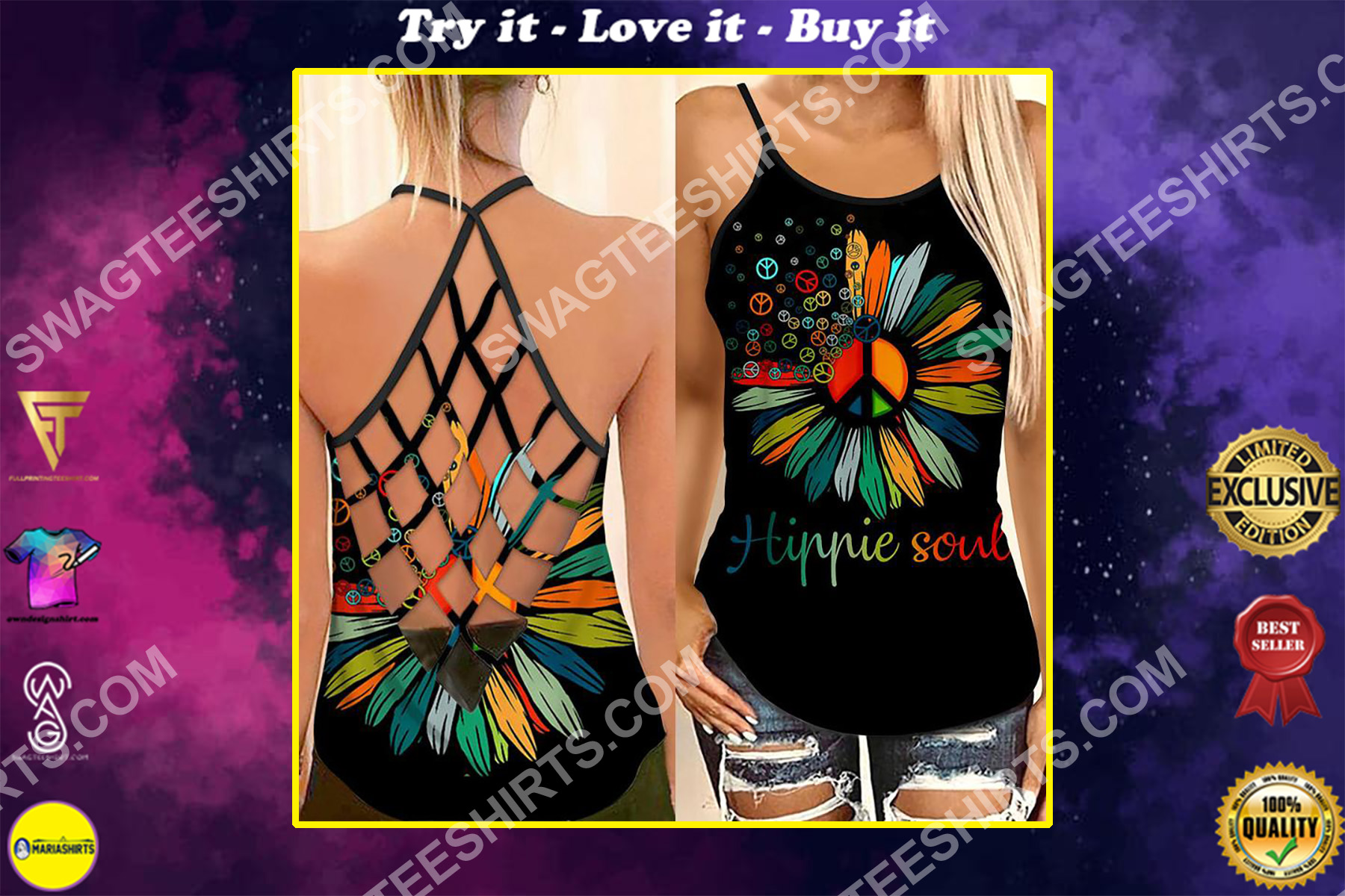 vintage hippie soul flower all over printed strappy back tank top