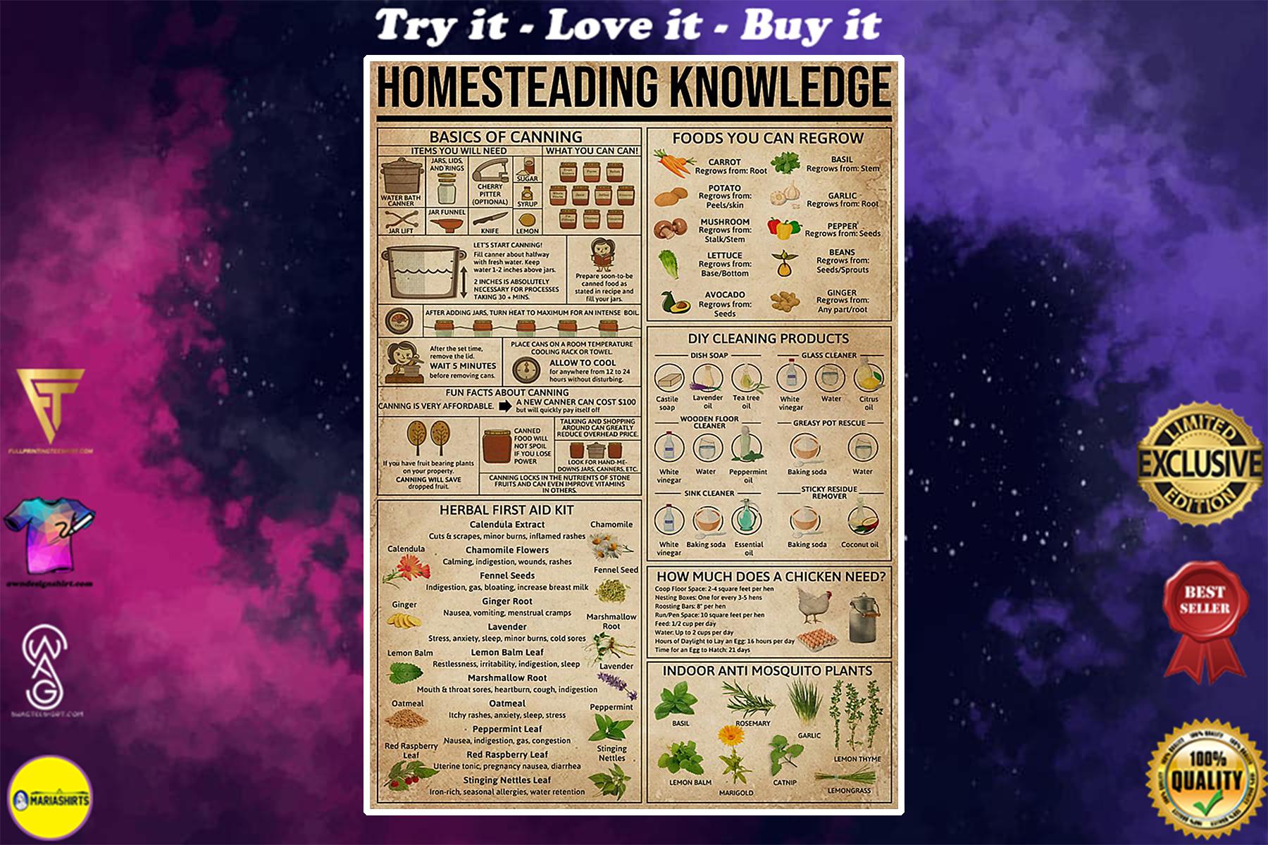 vintage homesteading knowledge poster