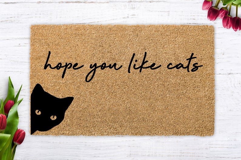 vintage hope you like cats all over print doormat 3