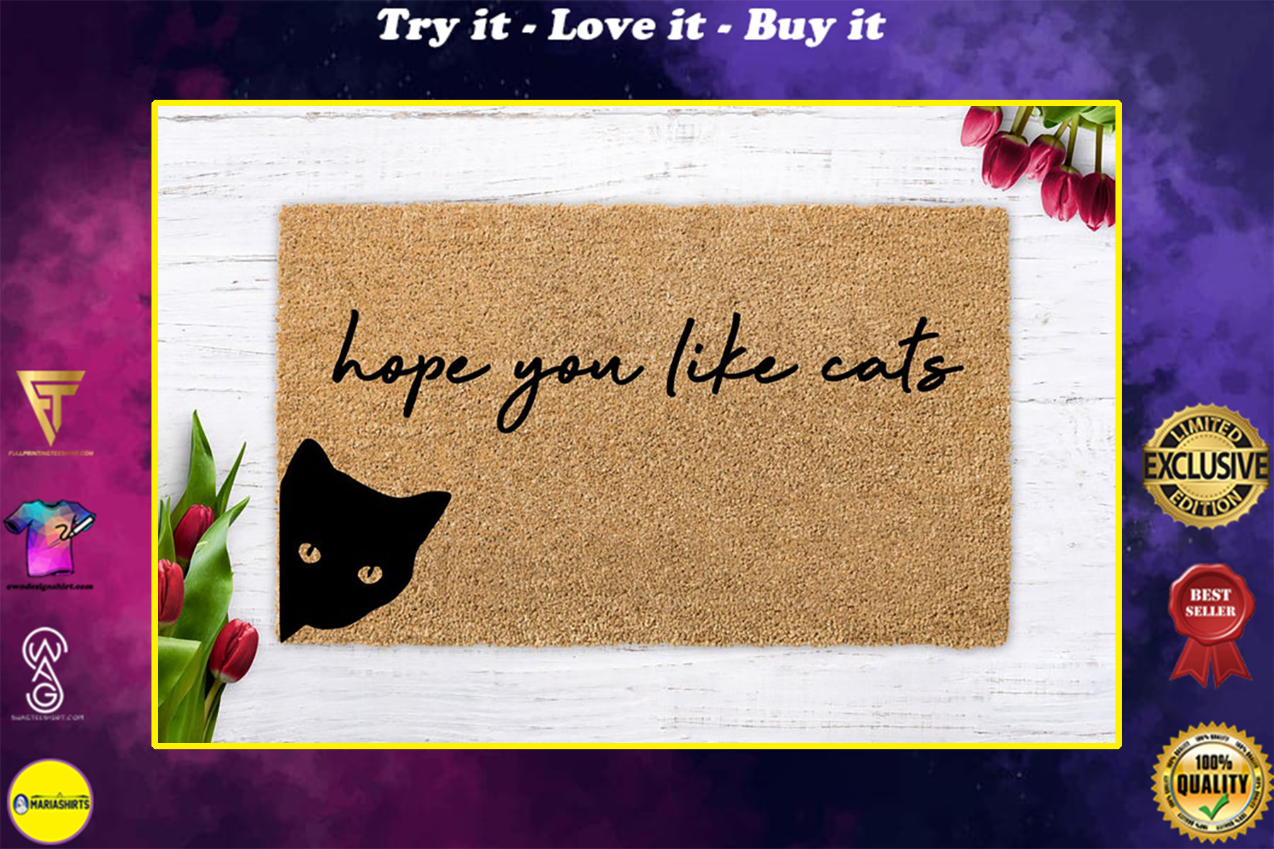 vintage hope you like cats all over print doormat