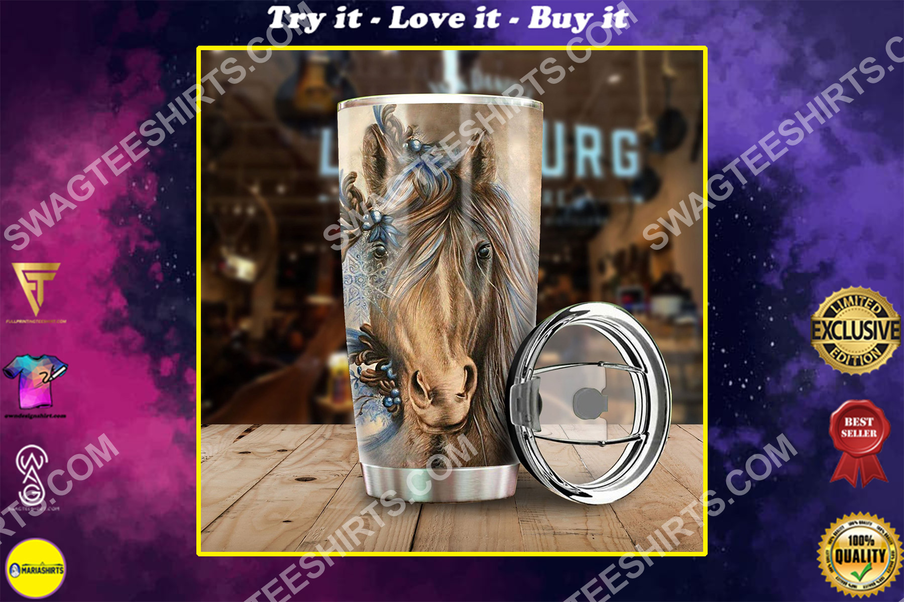 vintage horse all over printed stainless steel tumbler