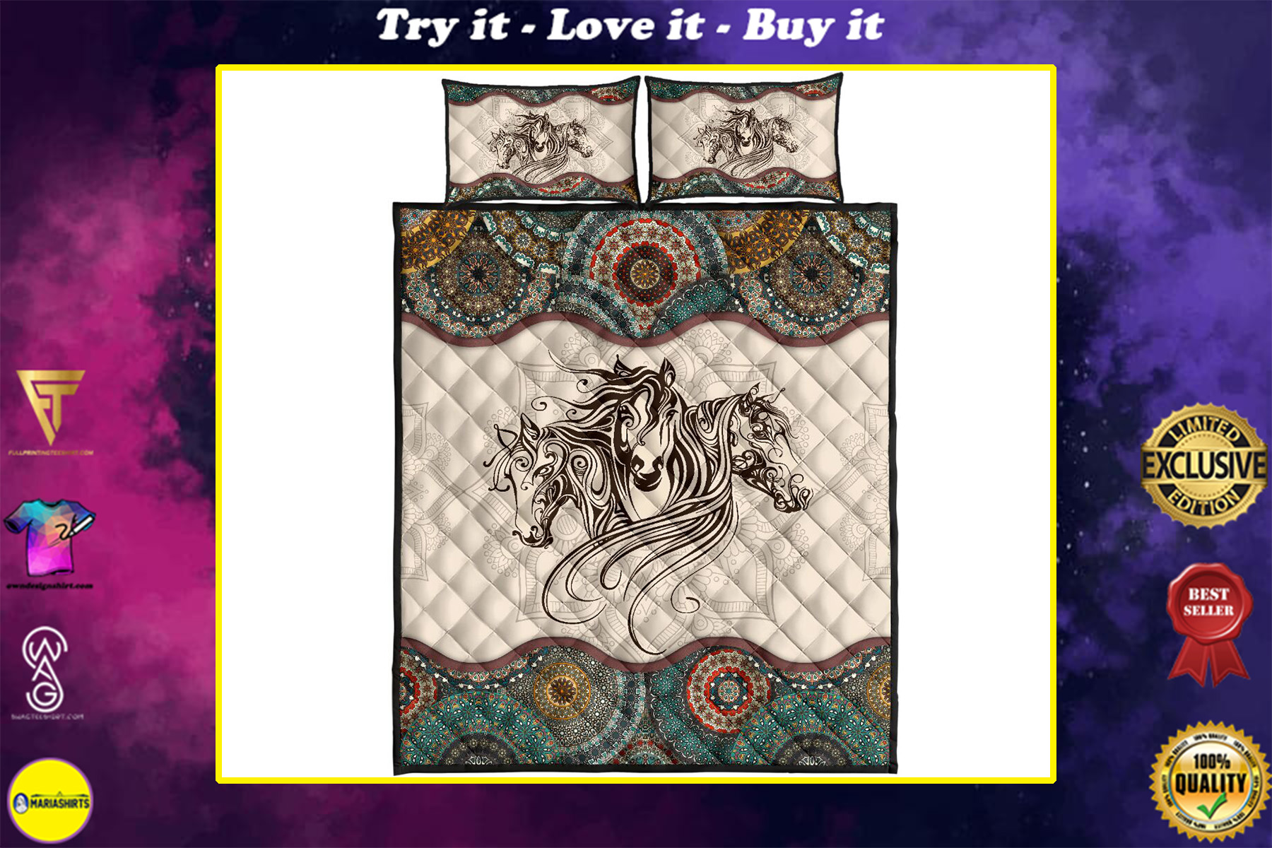 vintage horse lovers full over print quilt