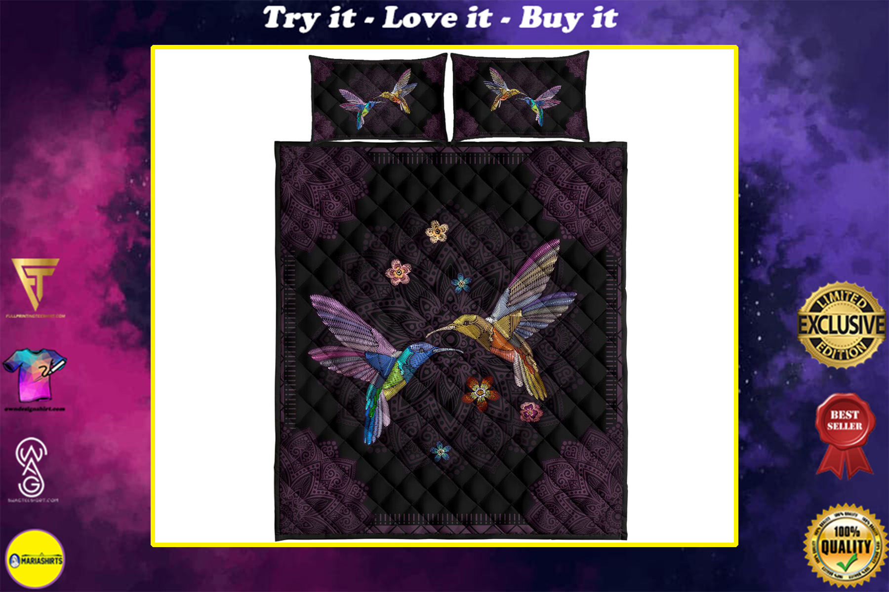vintage hummingbird lover full over print quilt