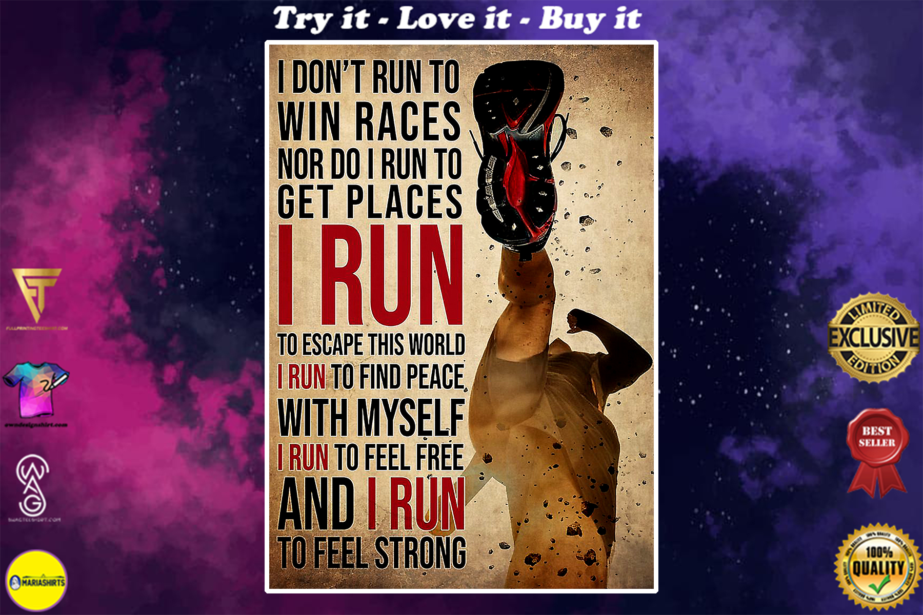 vintage i dont run to win races nor do i run to get places i run to feel strong poster