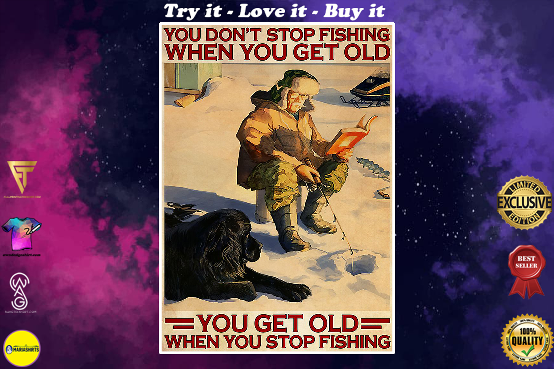 vintage ice fishing you dont stop fishing when you get old poster