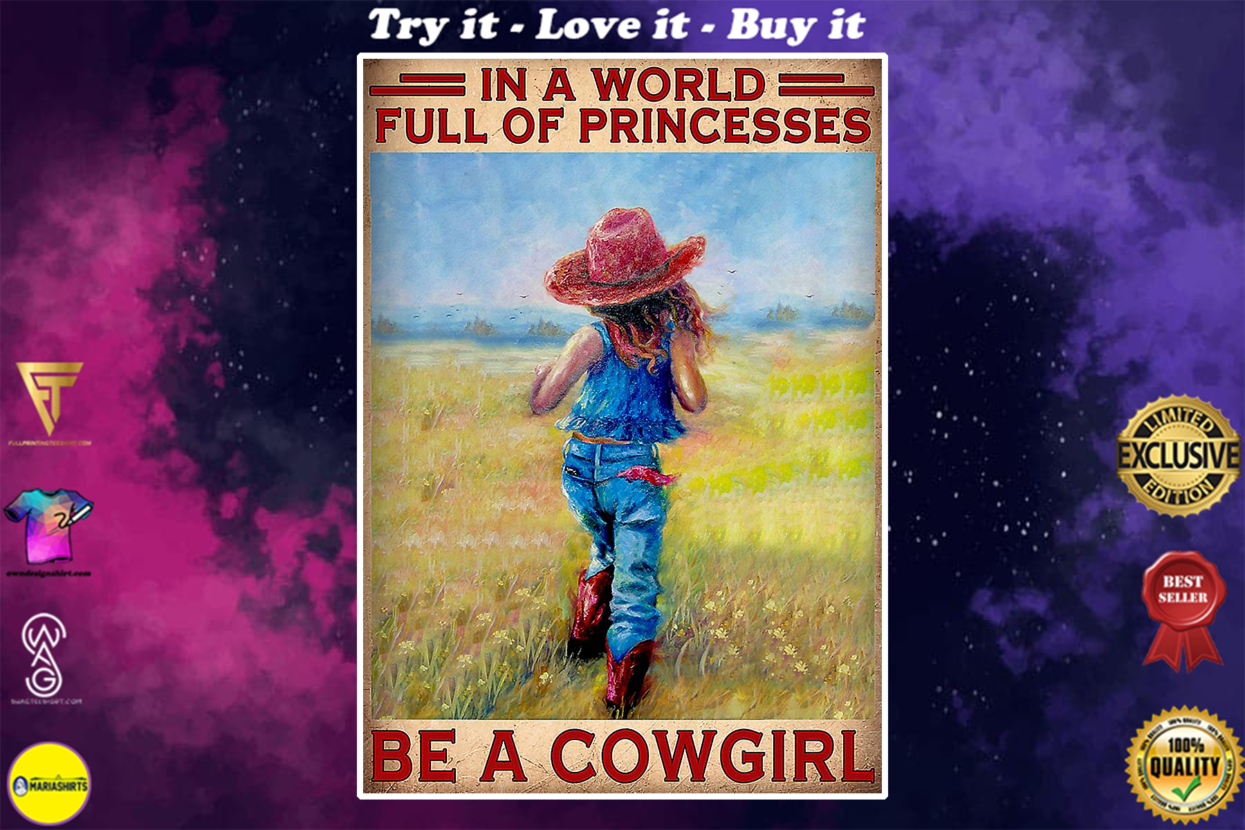 vintage in a world full of princesses be a cowgirl poster
