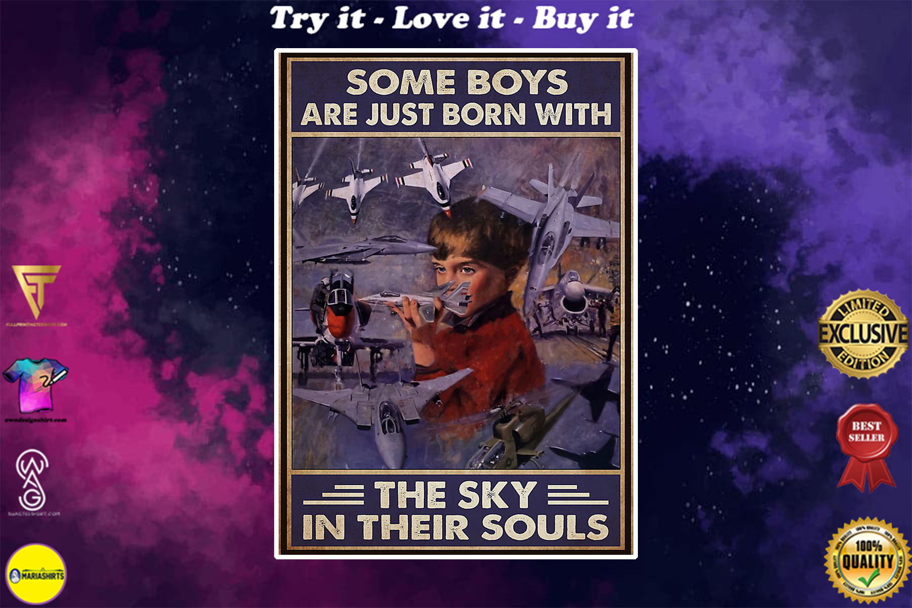 vintage jet aircraft some boys are just born with the sky in their souls poster