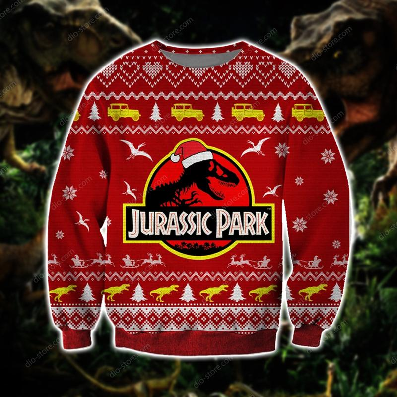 vintage jurassic park all over printed ugly christmas sweater 2