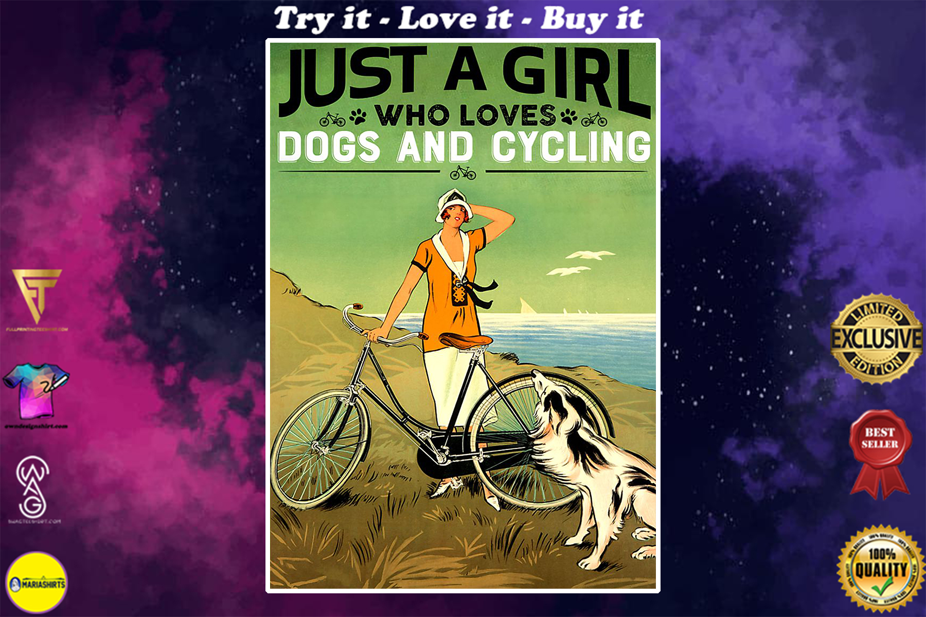 vintage just a girl who loves dog and cycling poster