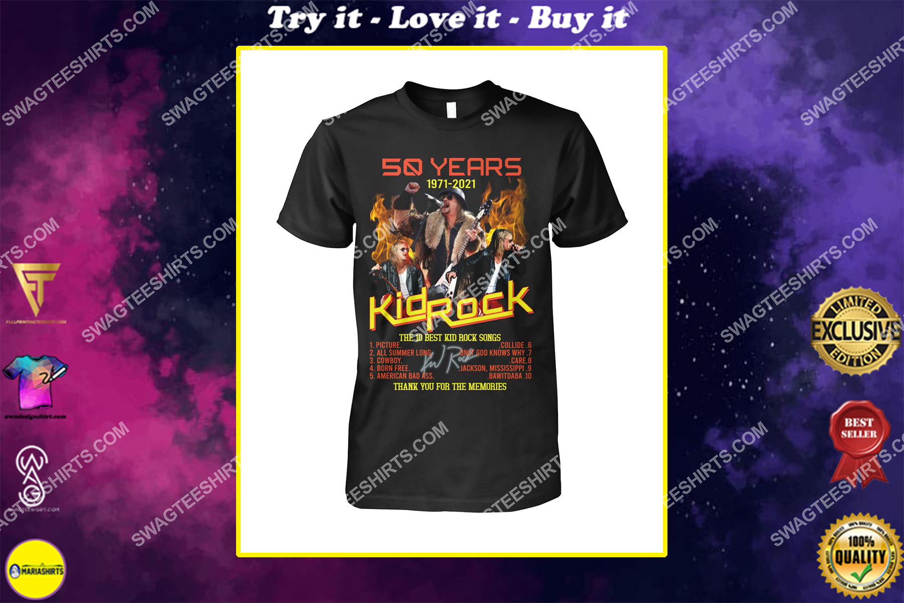 vintage kid rock 50 years thank you for memories signature shirt