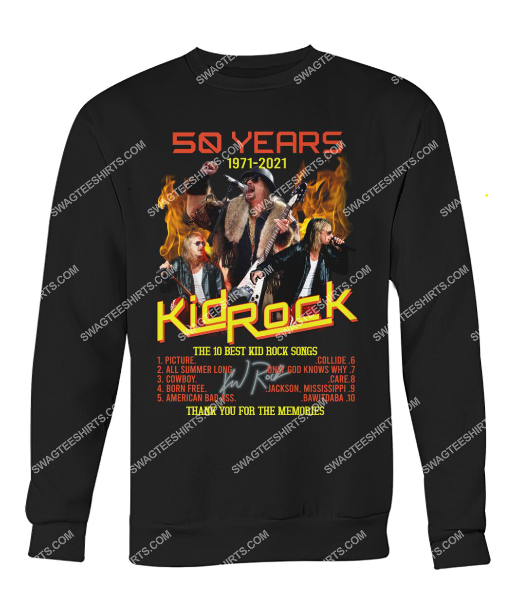 vintage kid rock 50 years thank you for memories signature sweatshirt 1