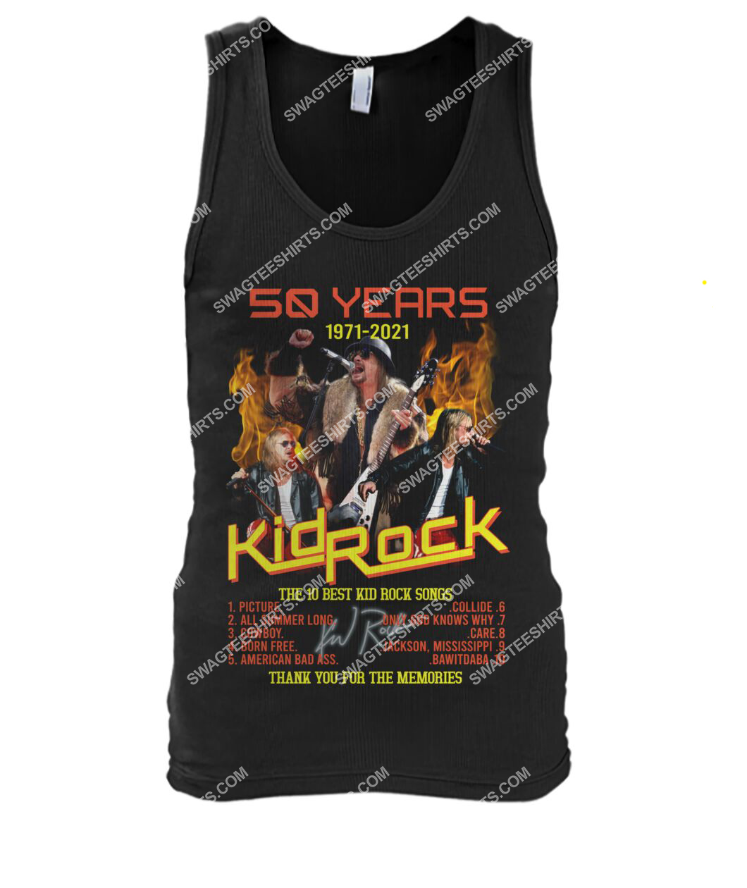 vintage kid rock 50 years thank you for memories signature tank top 1