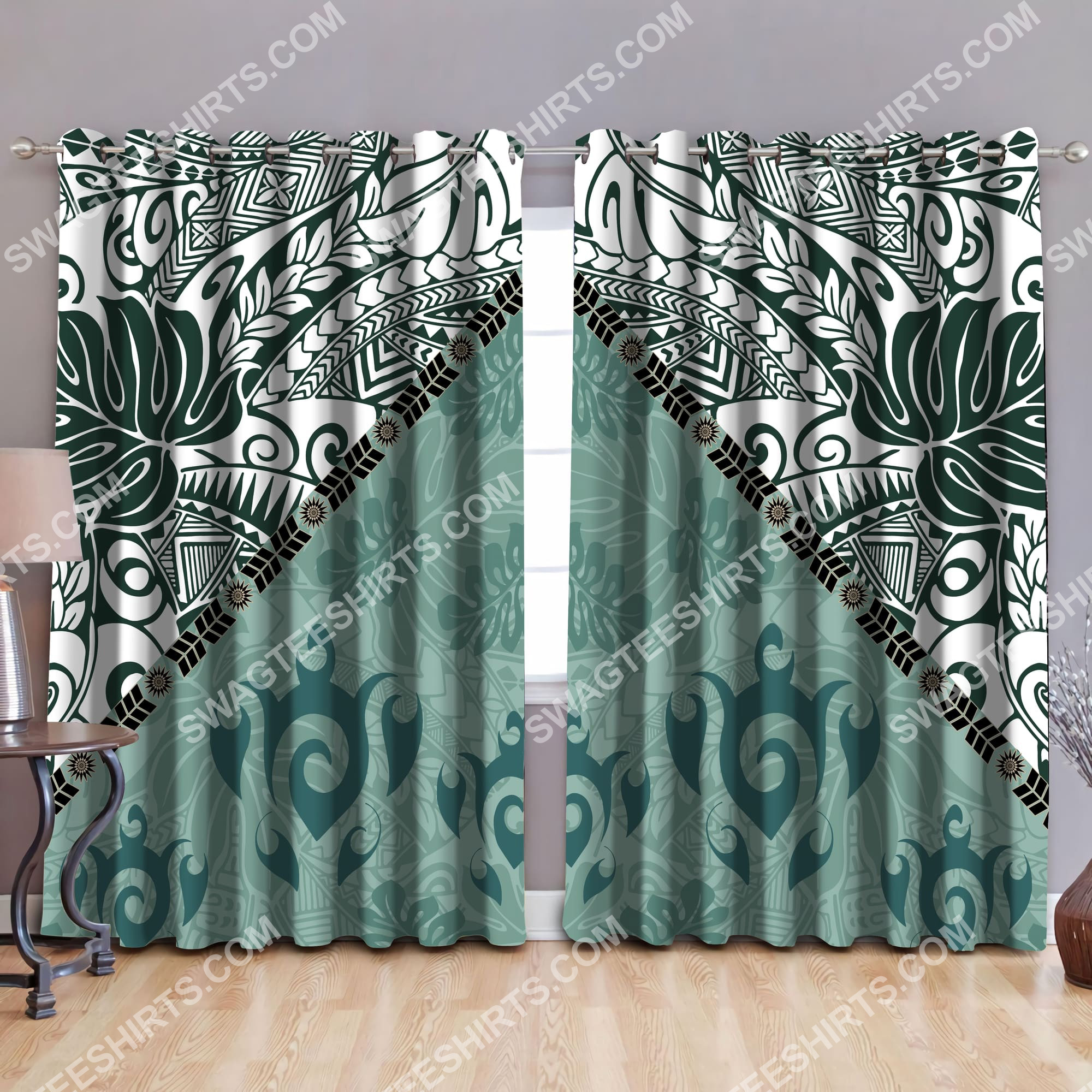 vintage leaves and turtles all over printed window curtains 2(1)