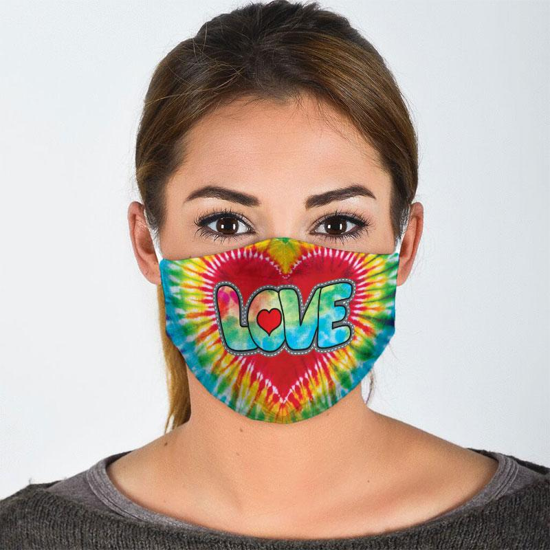 vintage love hippie tie dye all over print face mask 2
