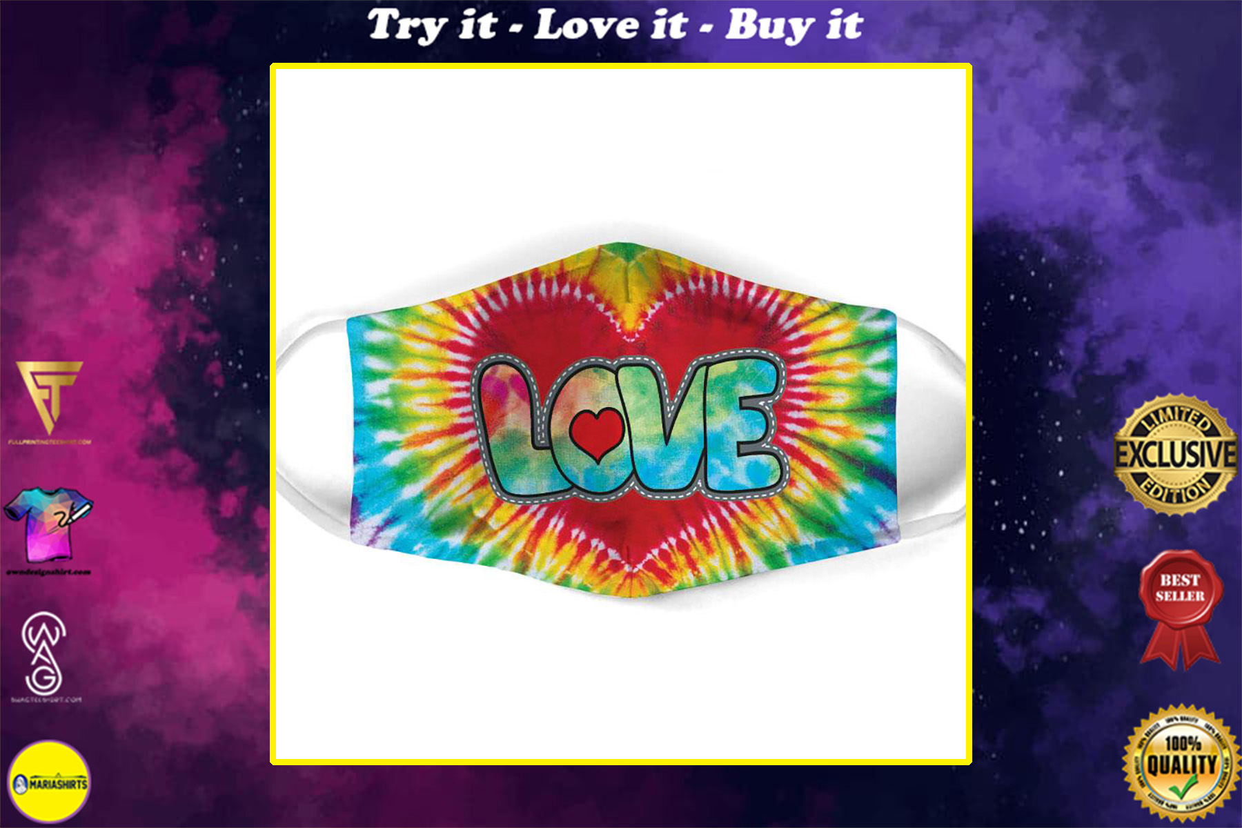 vintage love hippie tie dye all over print face mask
