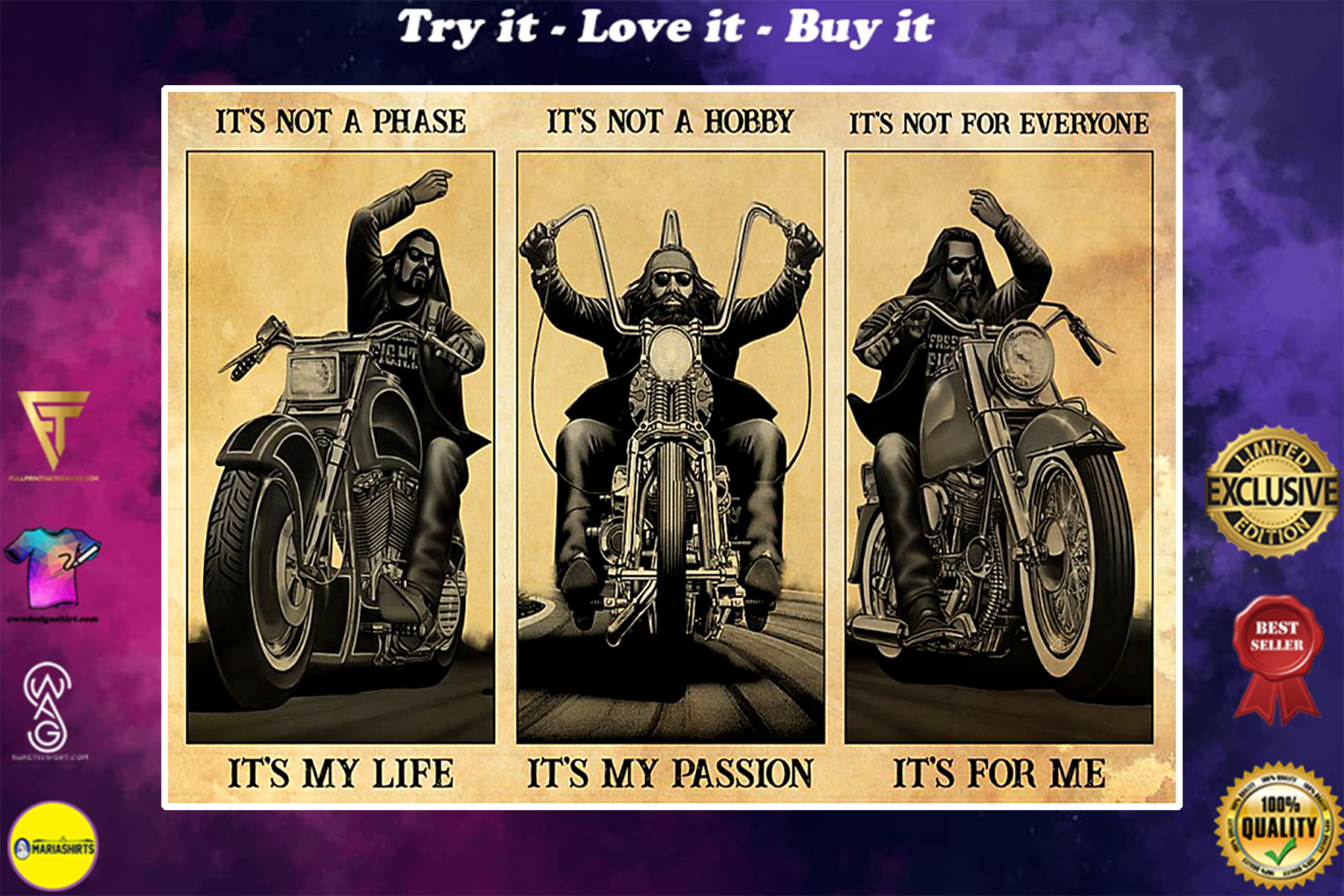 vintage man motorcycle its not a phase it my life its not a hobby its my passion poster