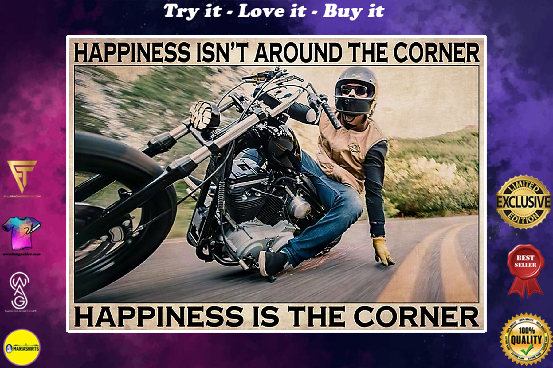 vintage motorcycle happiness isnt around the corner happiness is the corner poster