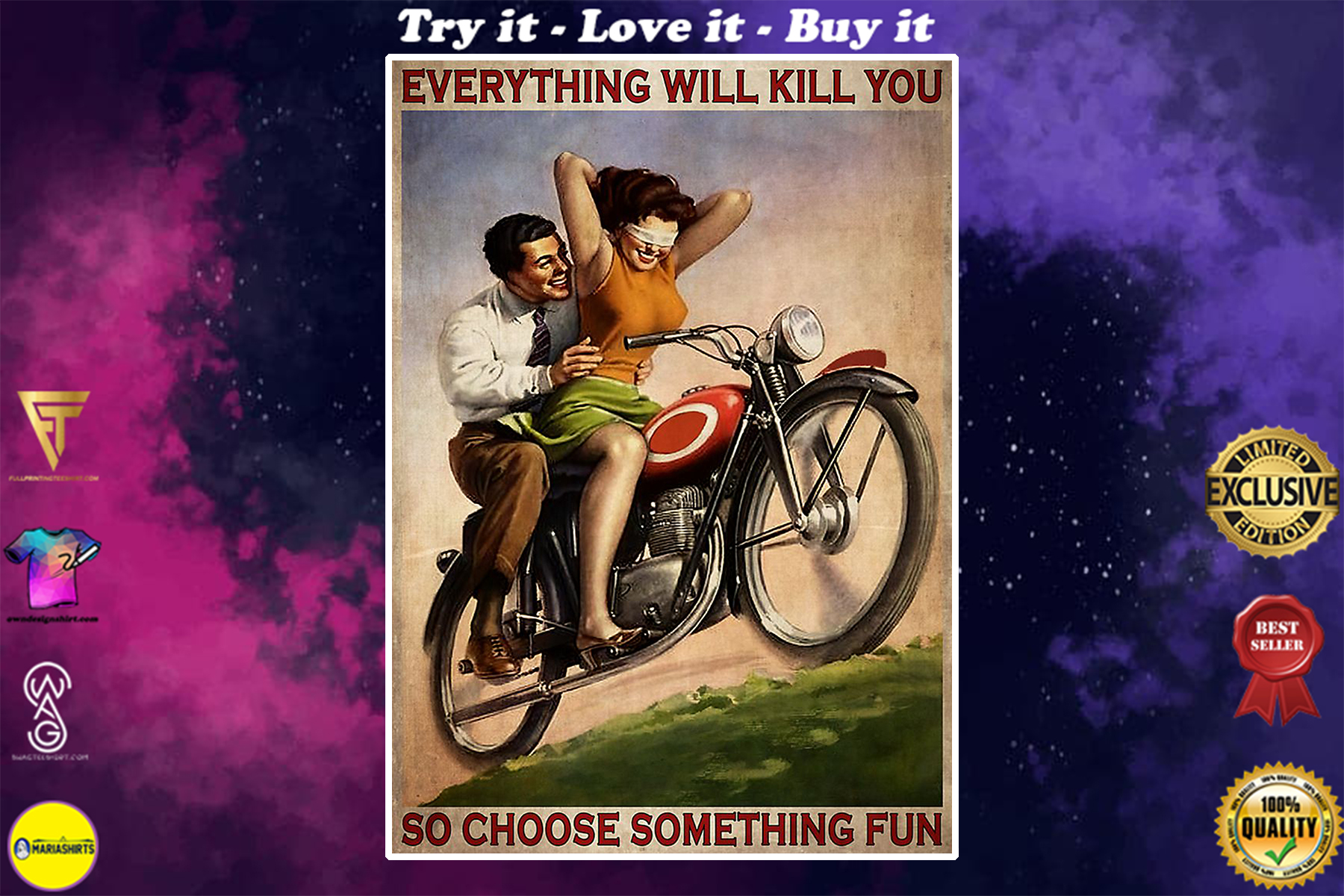 vintage motorcycling couple everything will kill you so choose something fun poster