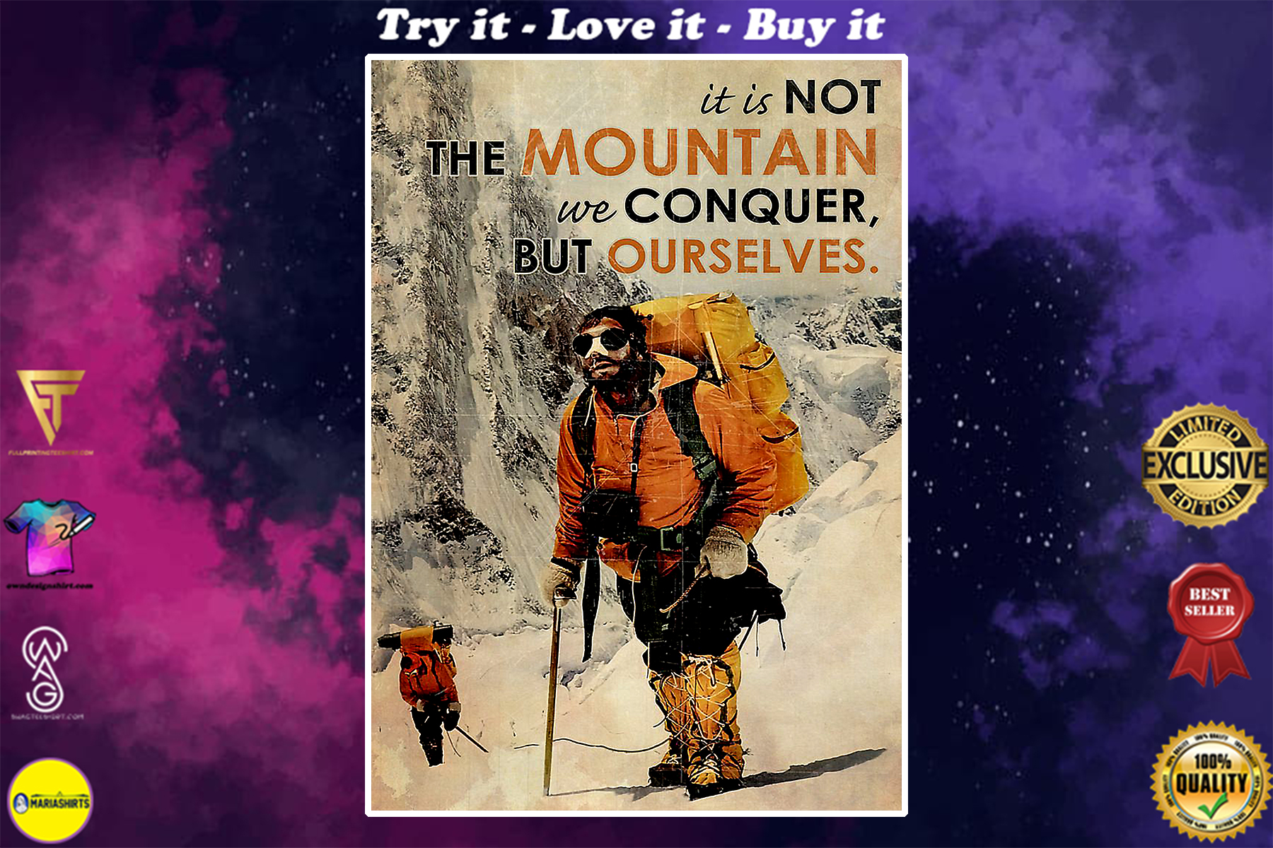 vintage mountaineering it is not the mountain we conquer but ourselves poster