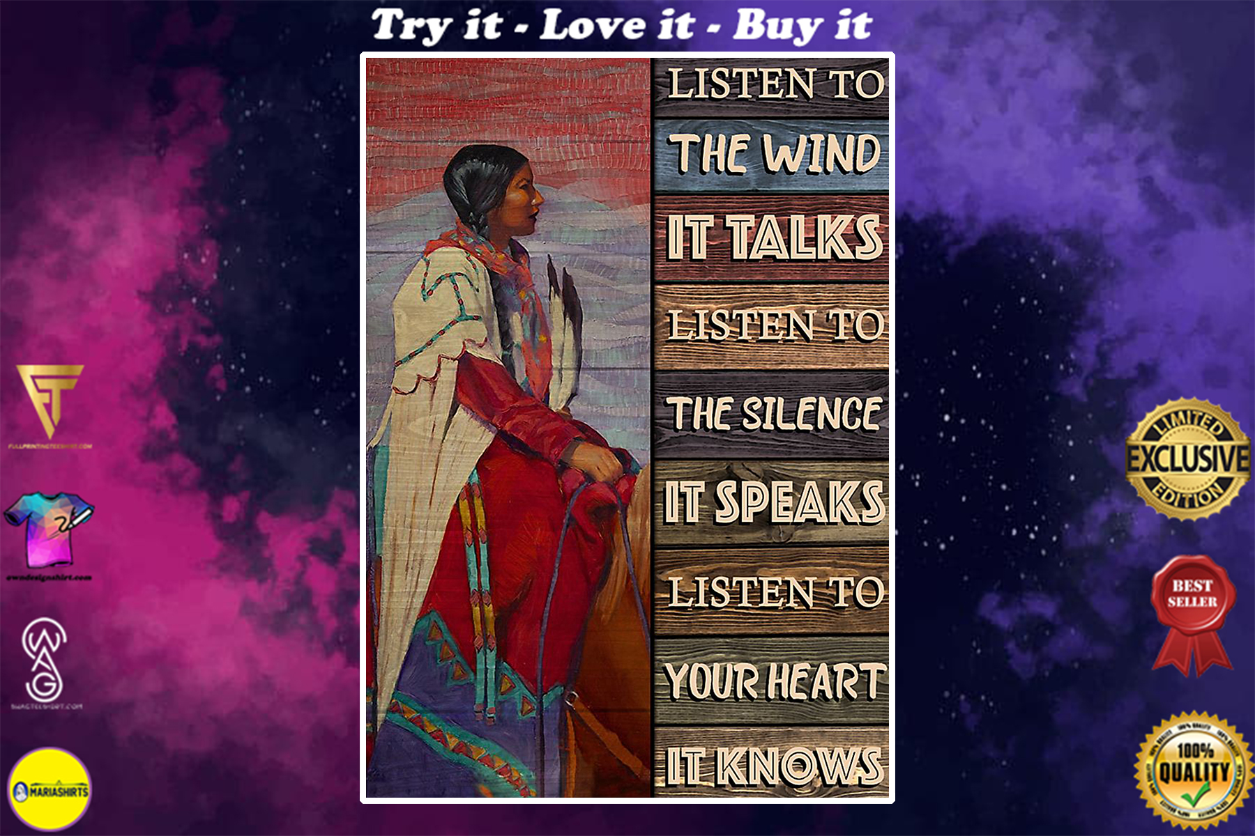 vintage native american girl listen to the wind it talks poster