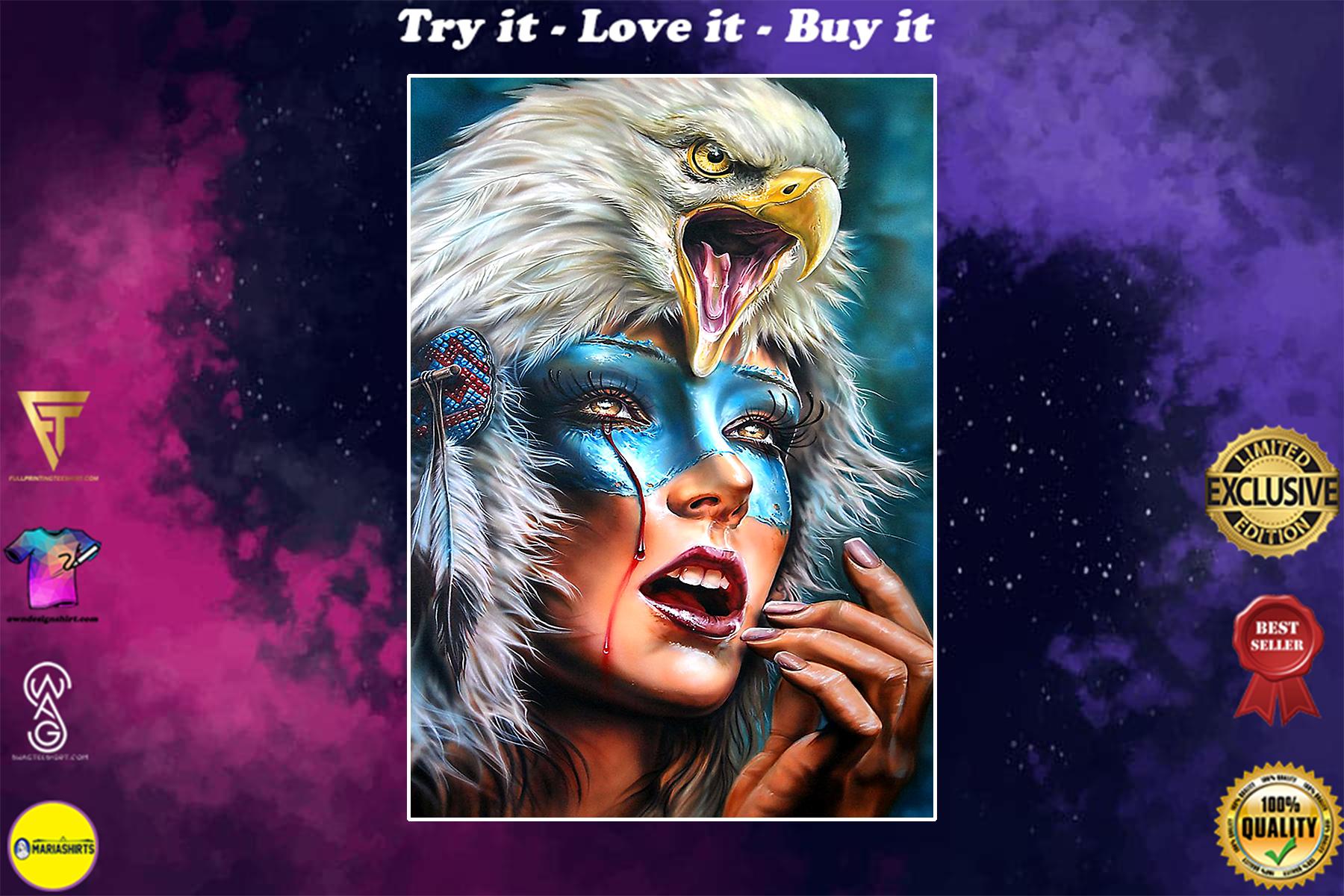 vintage native american woman eagle watercolor poster