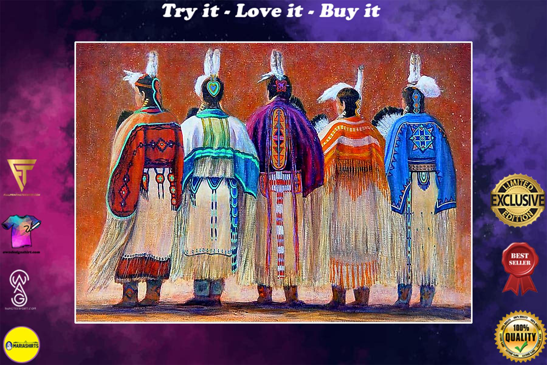 vintage native american woman poster