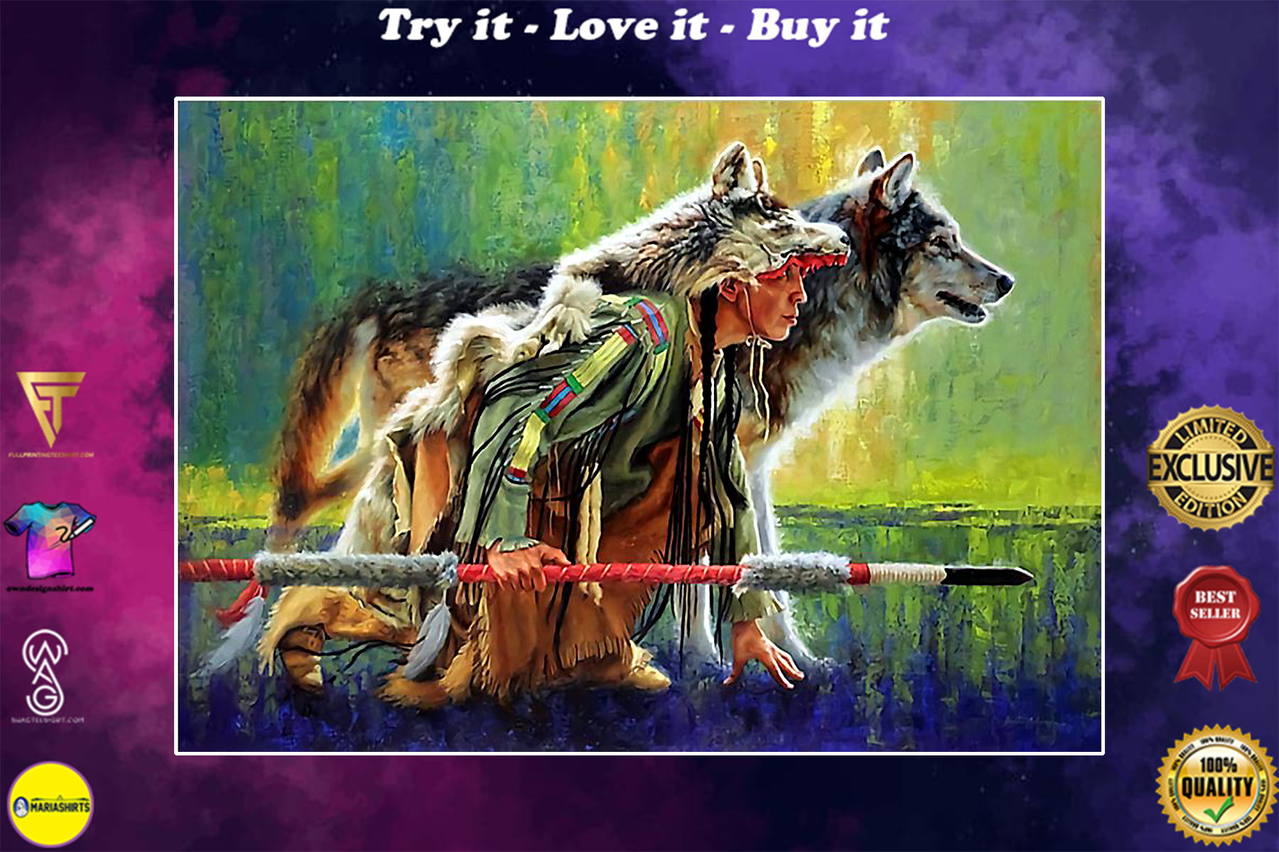 vintage native american woman warrior with wolf poster