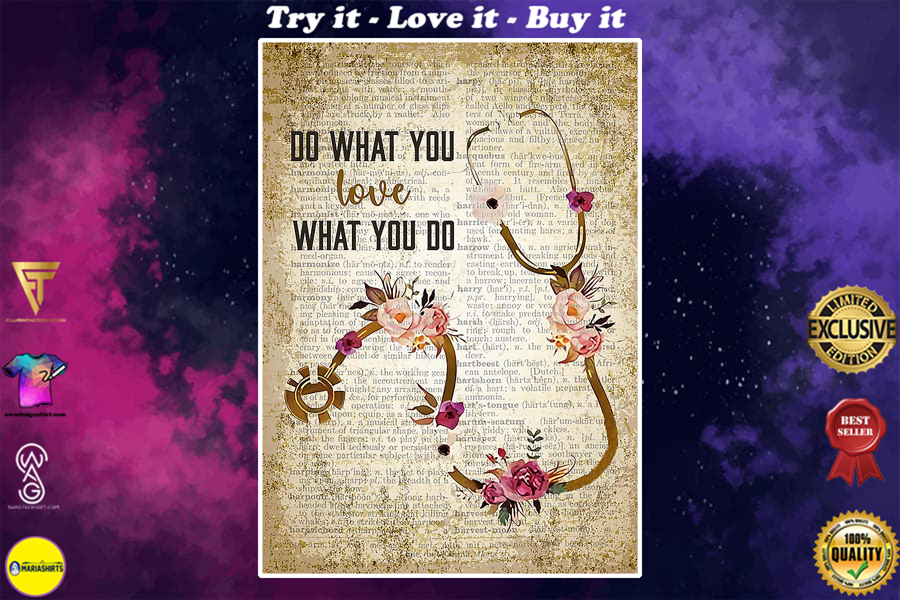 vintage nurse do what you love what you do floral poster