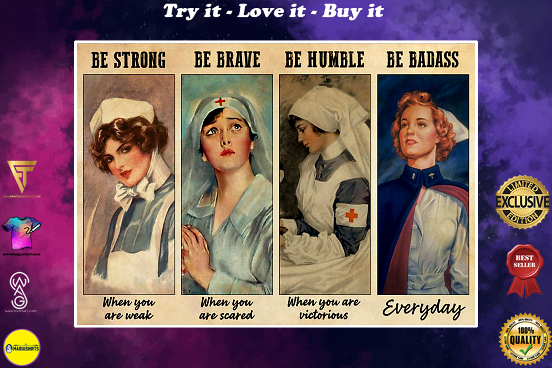 vintage nurses be strong when you are weak be brave when you are scared poster