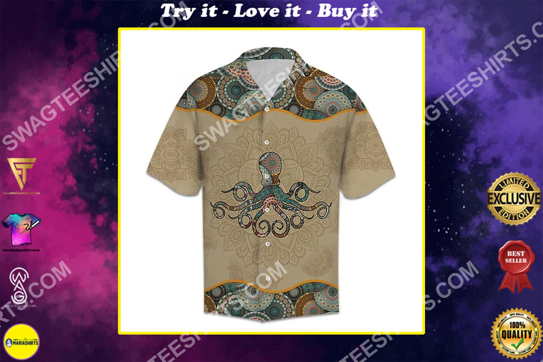 vintage octopus all over printed hawaiian shirt