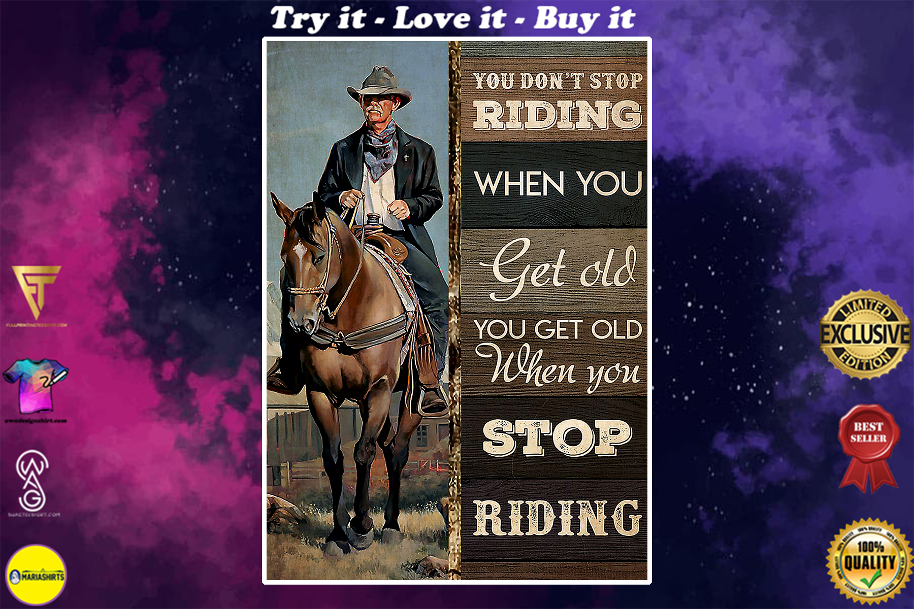 vintage old cowboy you dont stop riding when you get old poster