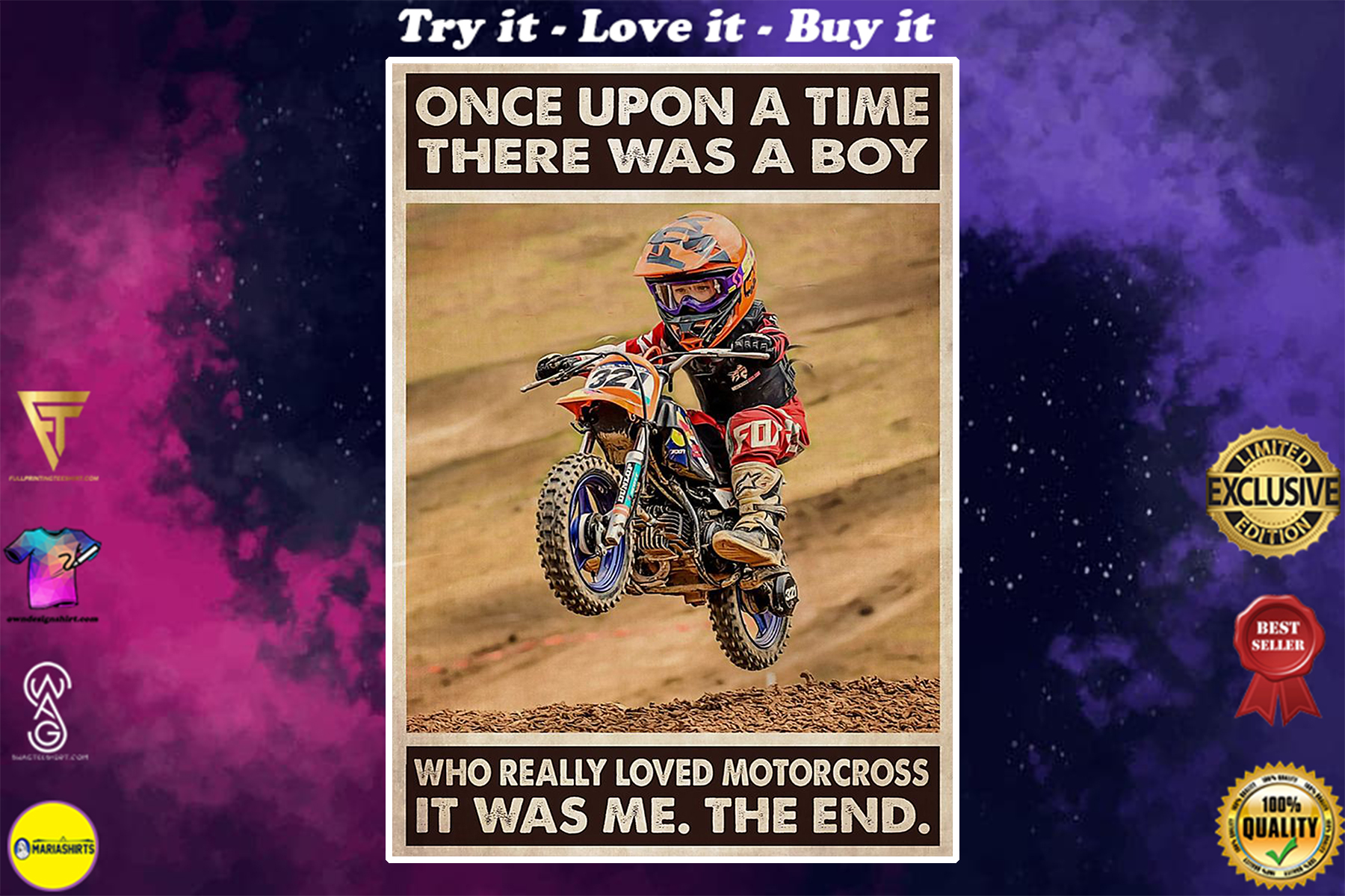 vintage once upon a time there was a boy who really loved motocross poster