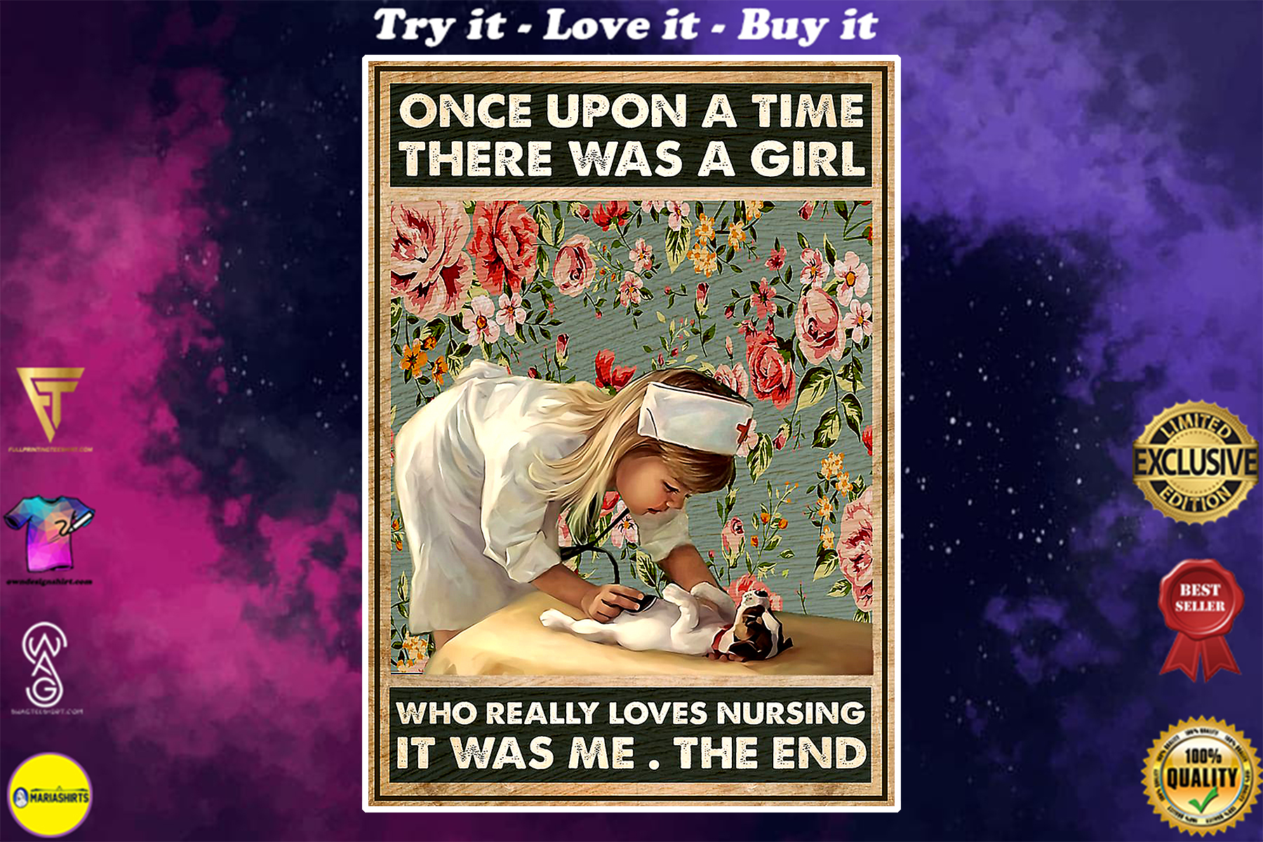 vintage once upon a time there was a girl who really loves nursing floral poster