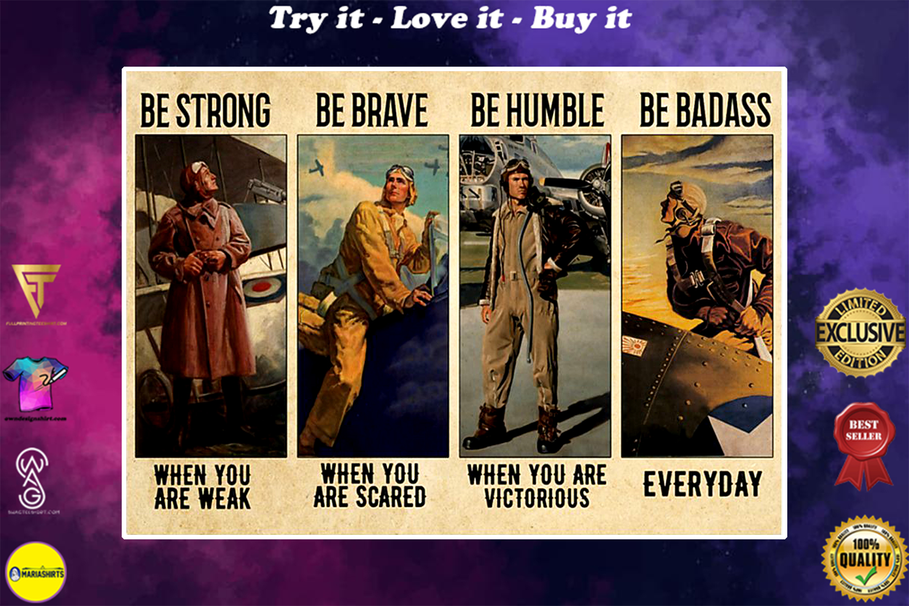 vintage pilot be strong when you are weak be brave when you are scared poster