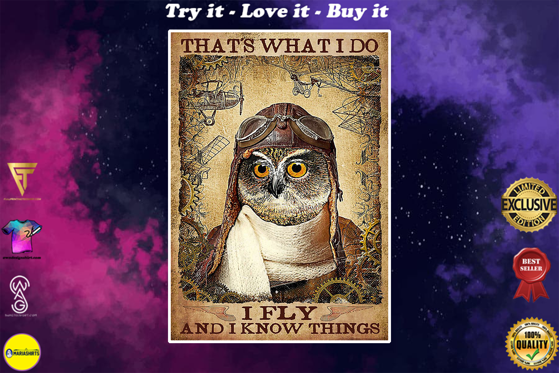 vintage pilot owl thats i do i fly i know things poster
