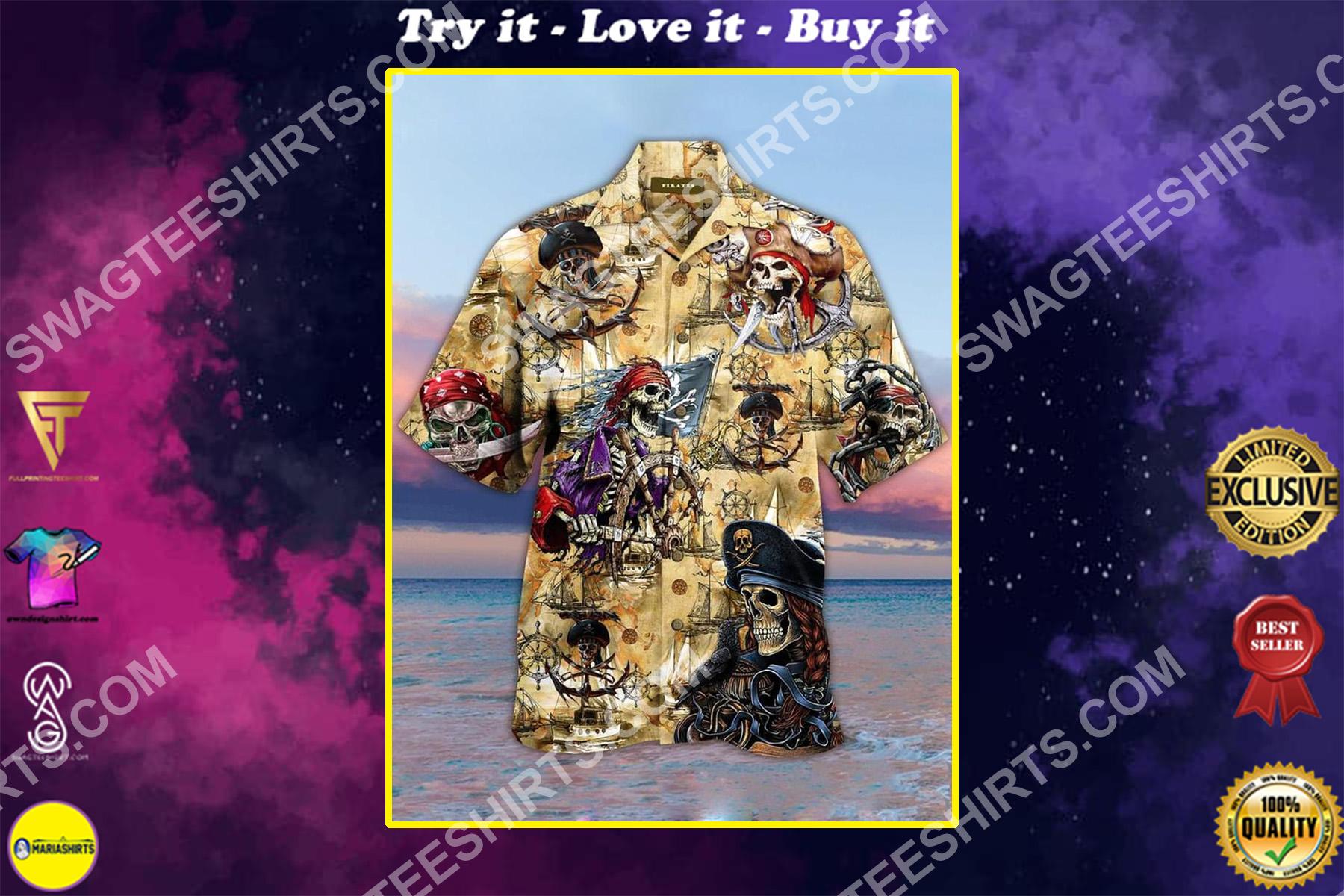 vintage pirates all over printed hawaiian shirt