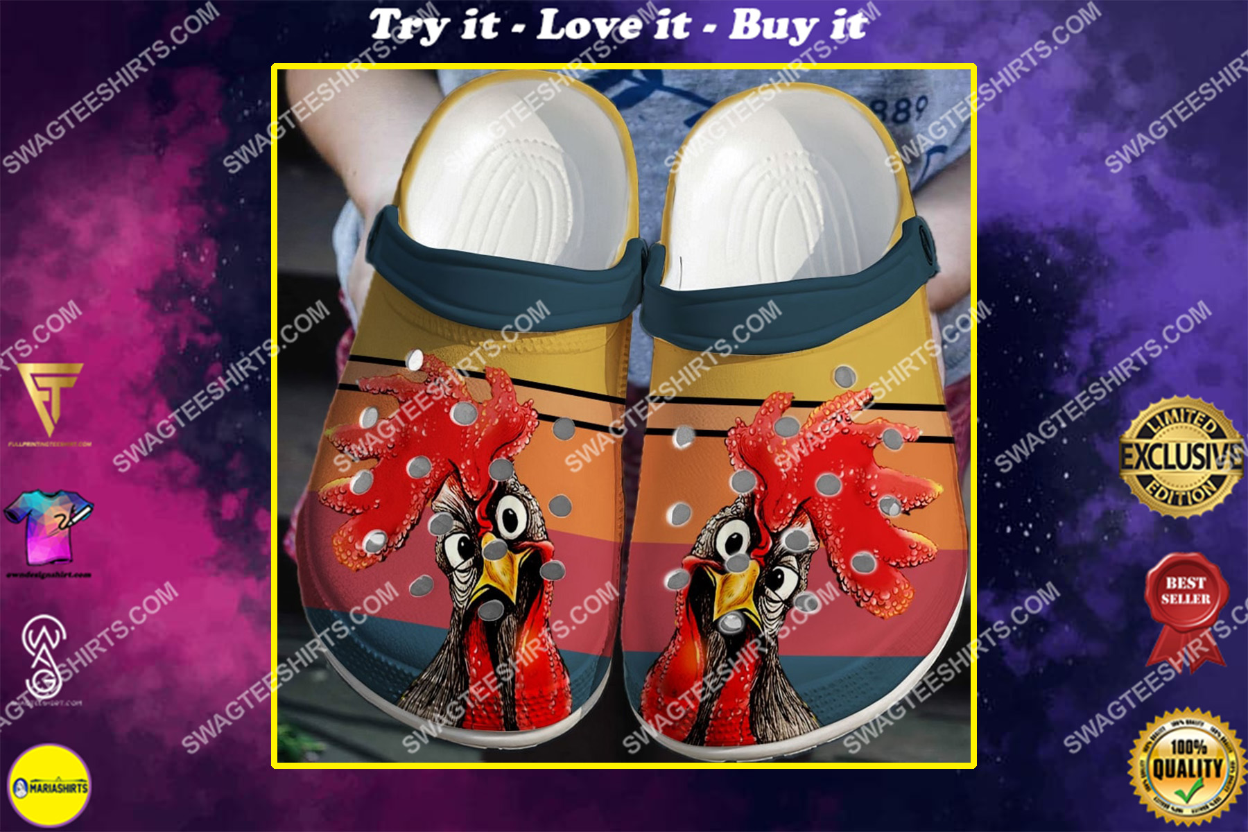 vintage rooster chicken all over printed crocs