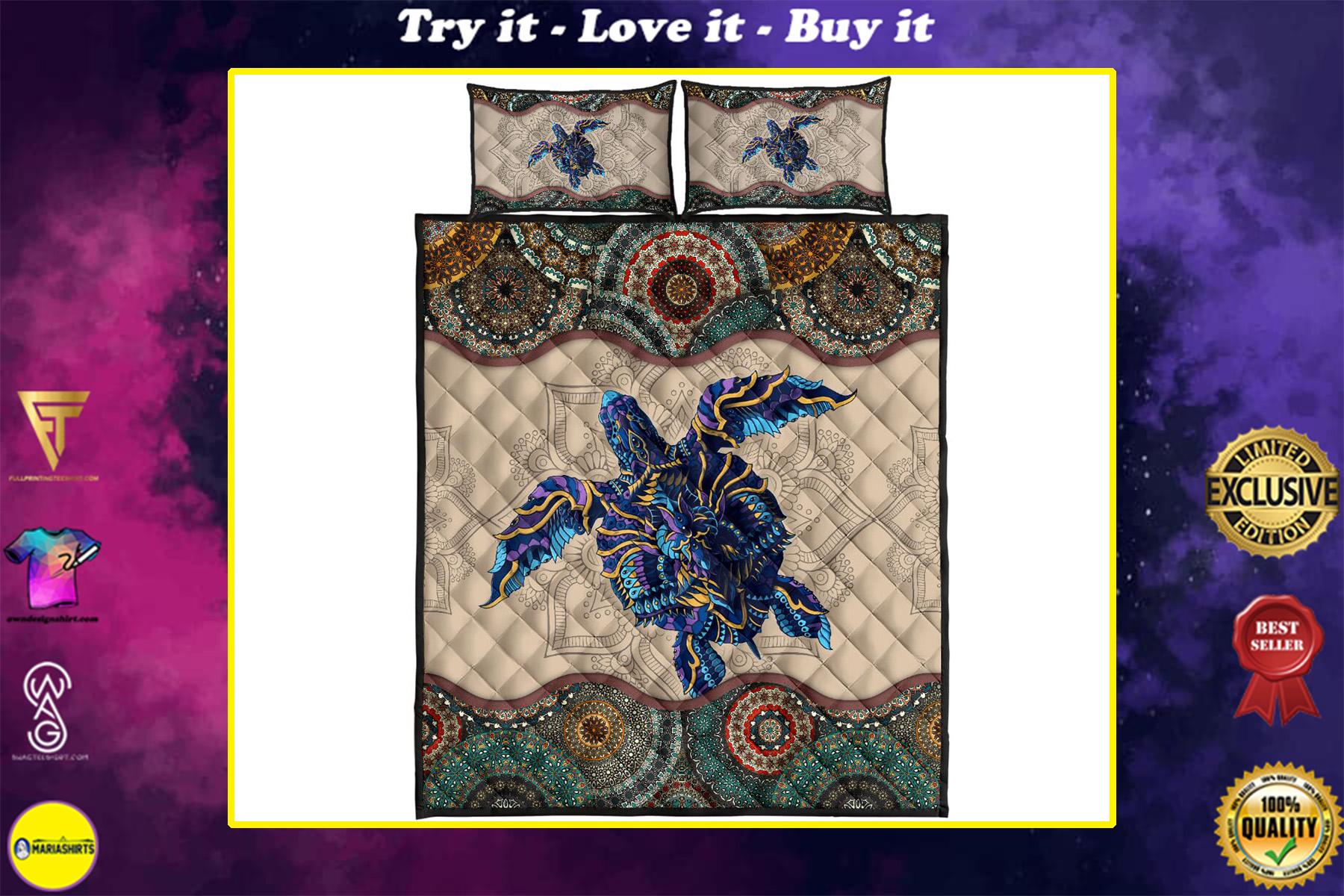vintage sea turtle full printing quilt