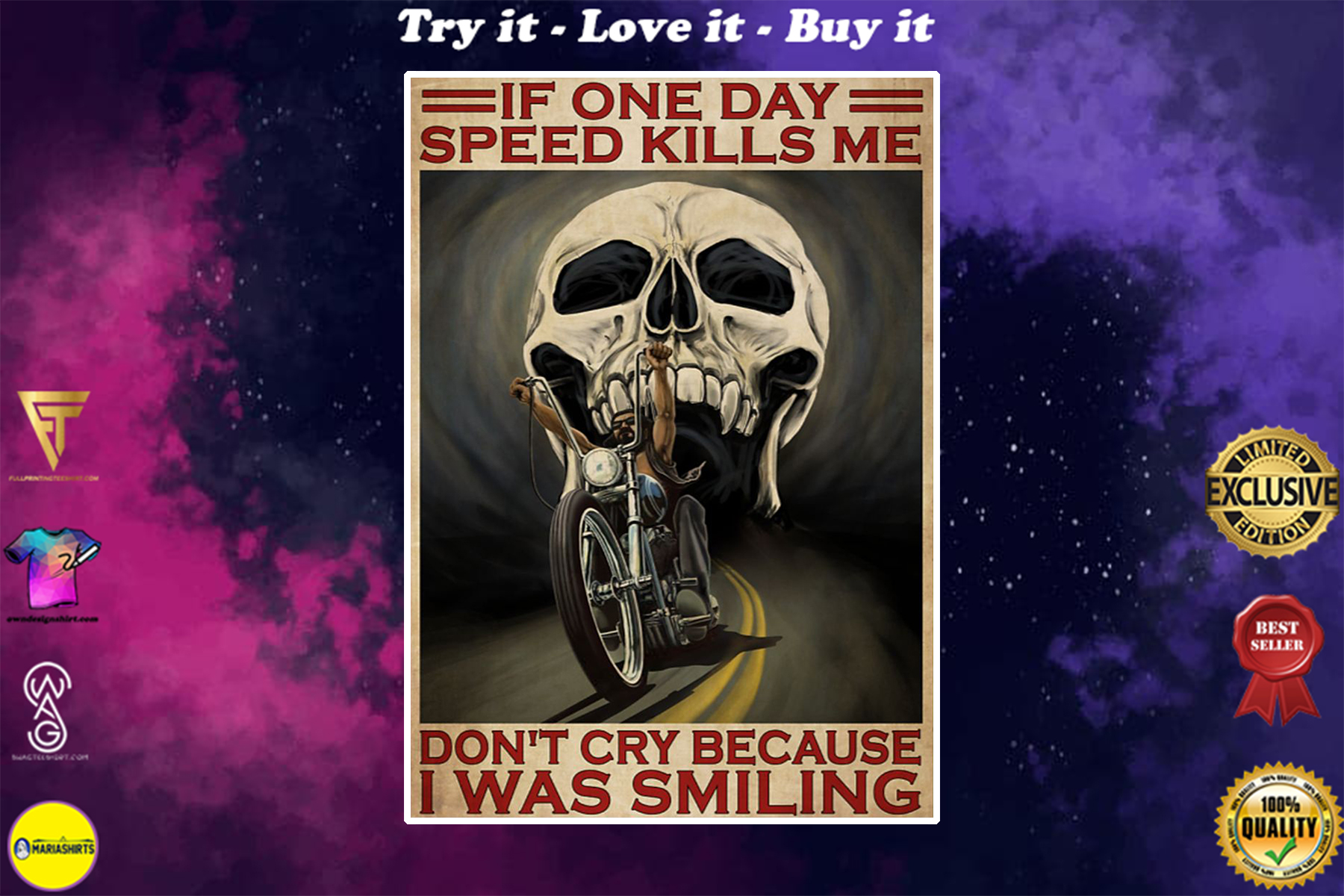 vintage skull if once day speed kills me dont cry because i was smiling poster