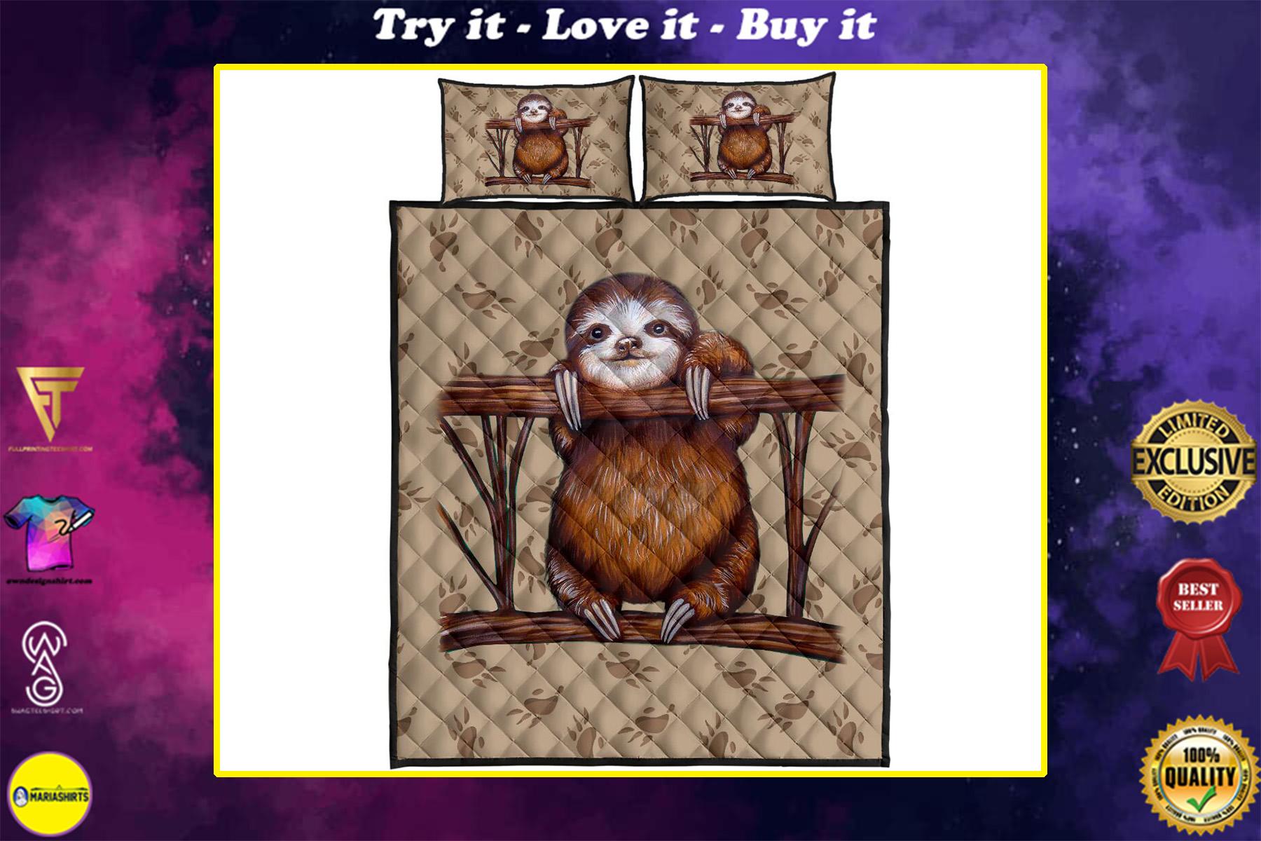 vintage sloth full over print quilt
