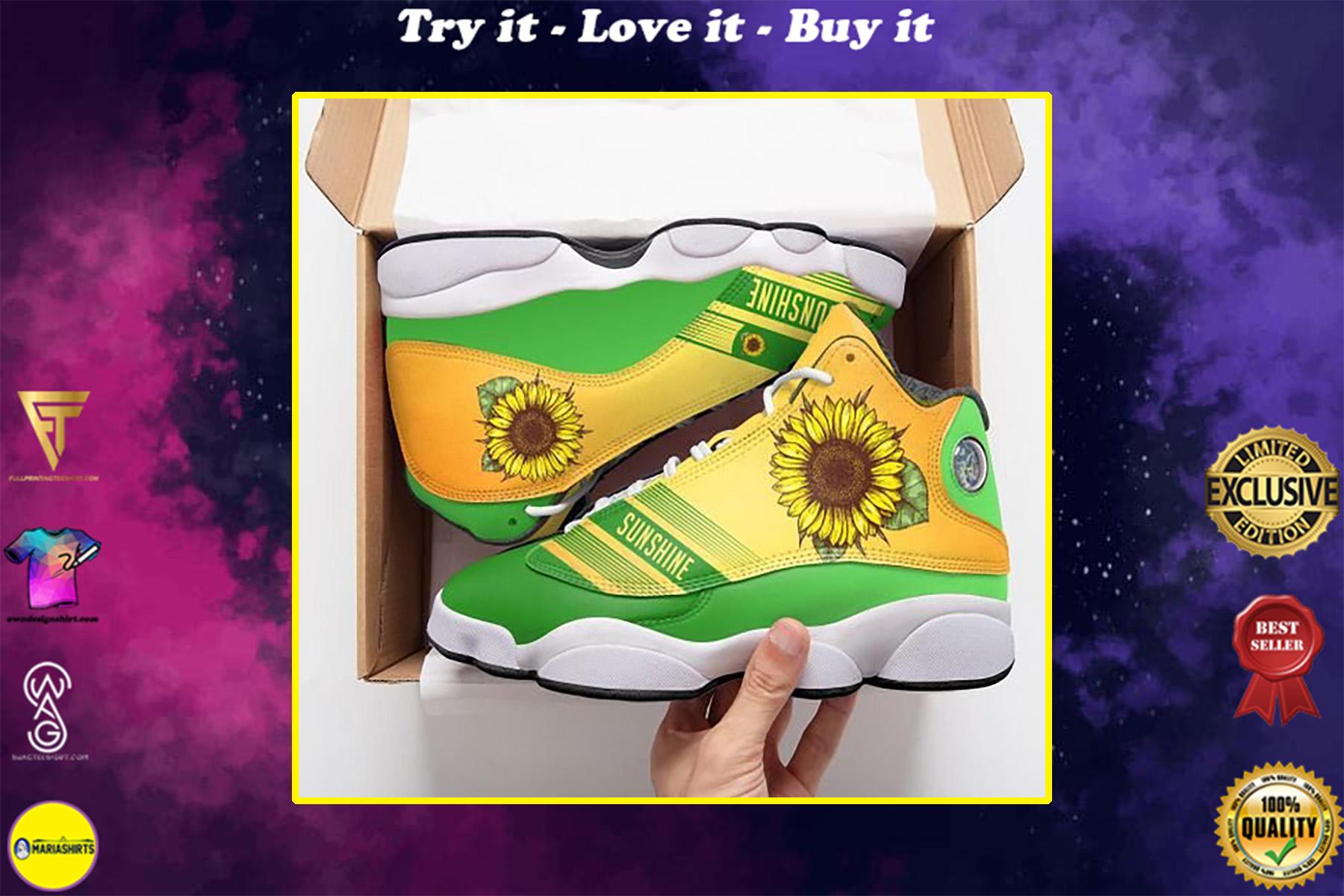 vintage sunflower all over printed air jordan 13 sneakers