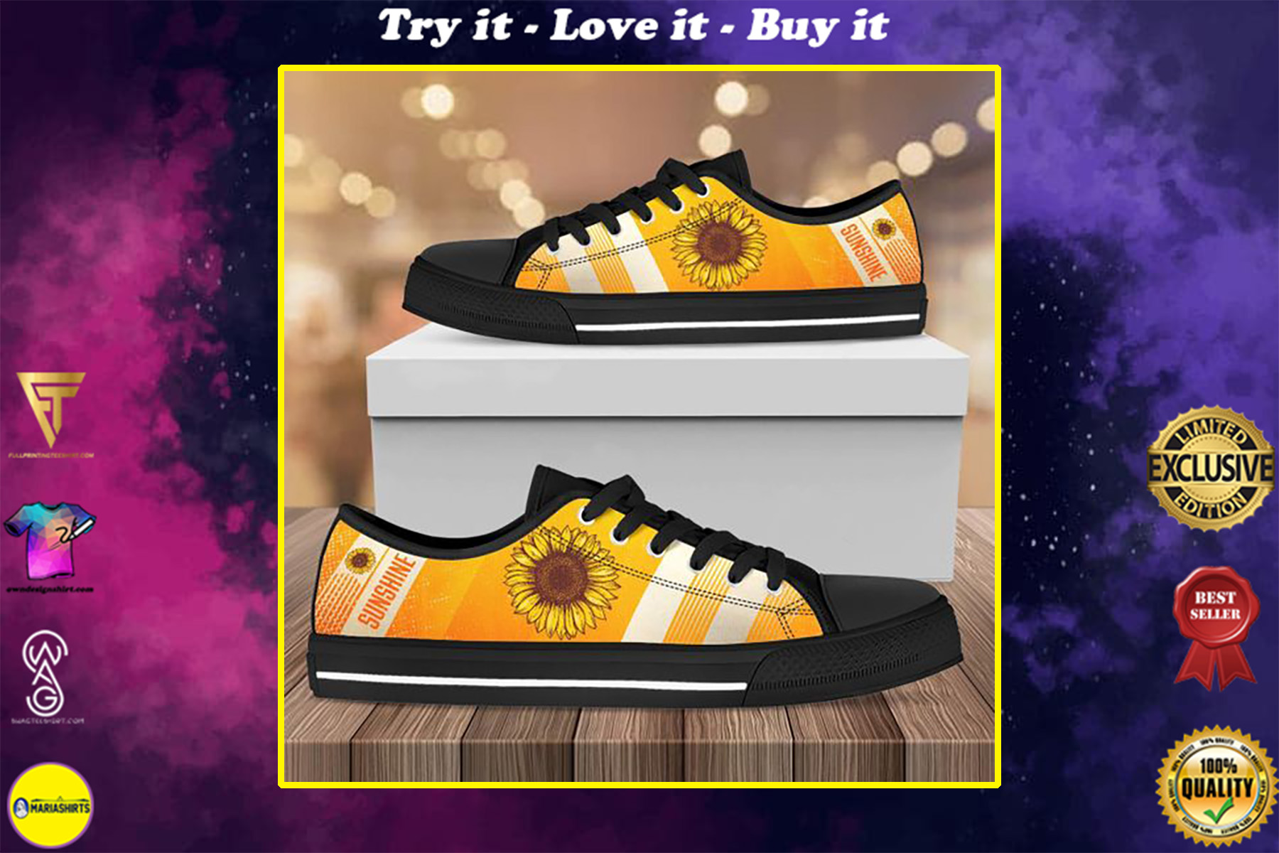 vintage sunflower full printing low top shoes