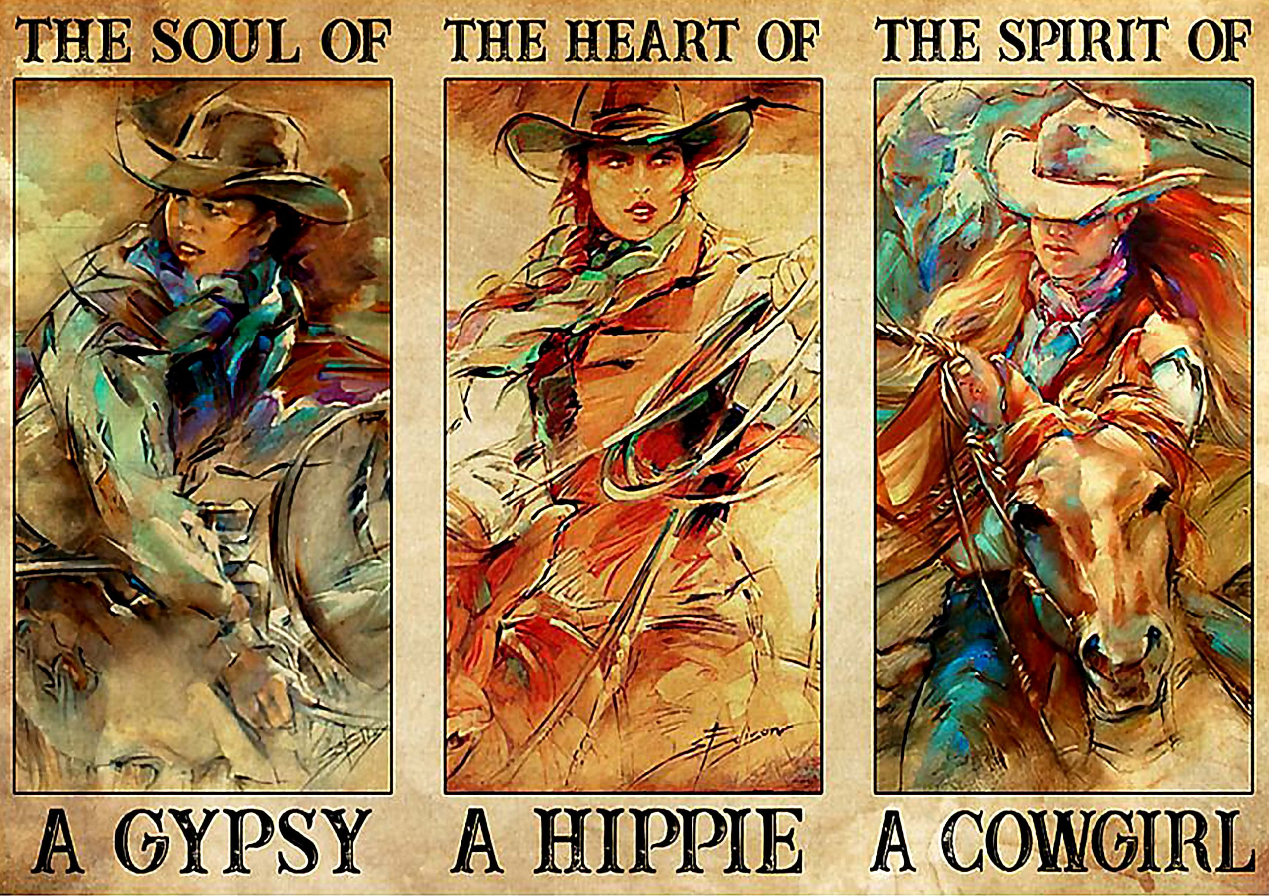 vintage the soul of a gypsy the heart of a hippie the spirit of a cowgirl poster 1 - Copy