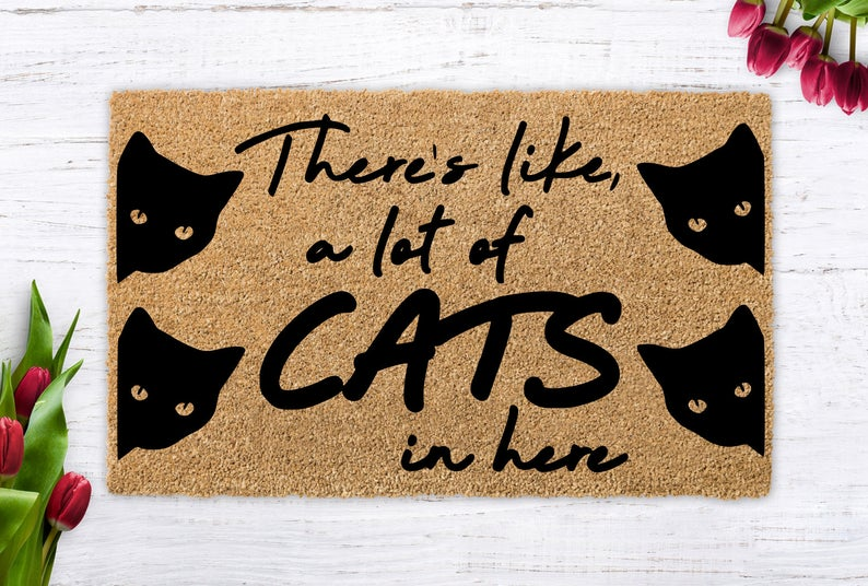 vintage there is like a lot of cats in here all over print doormat 2