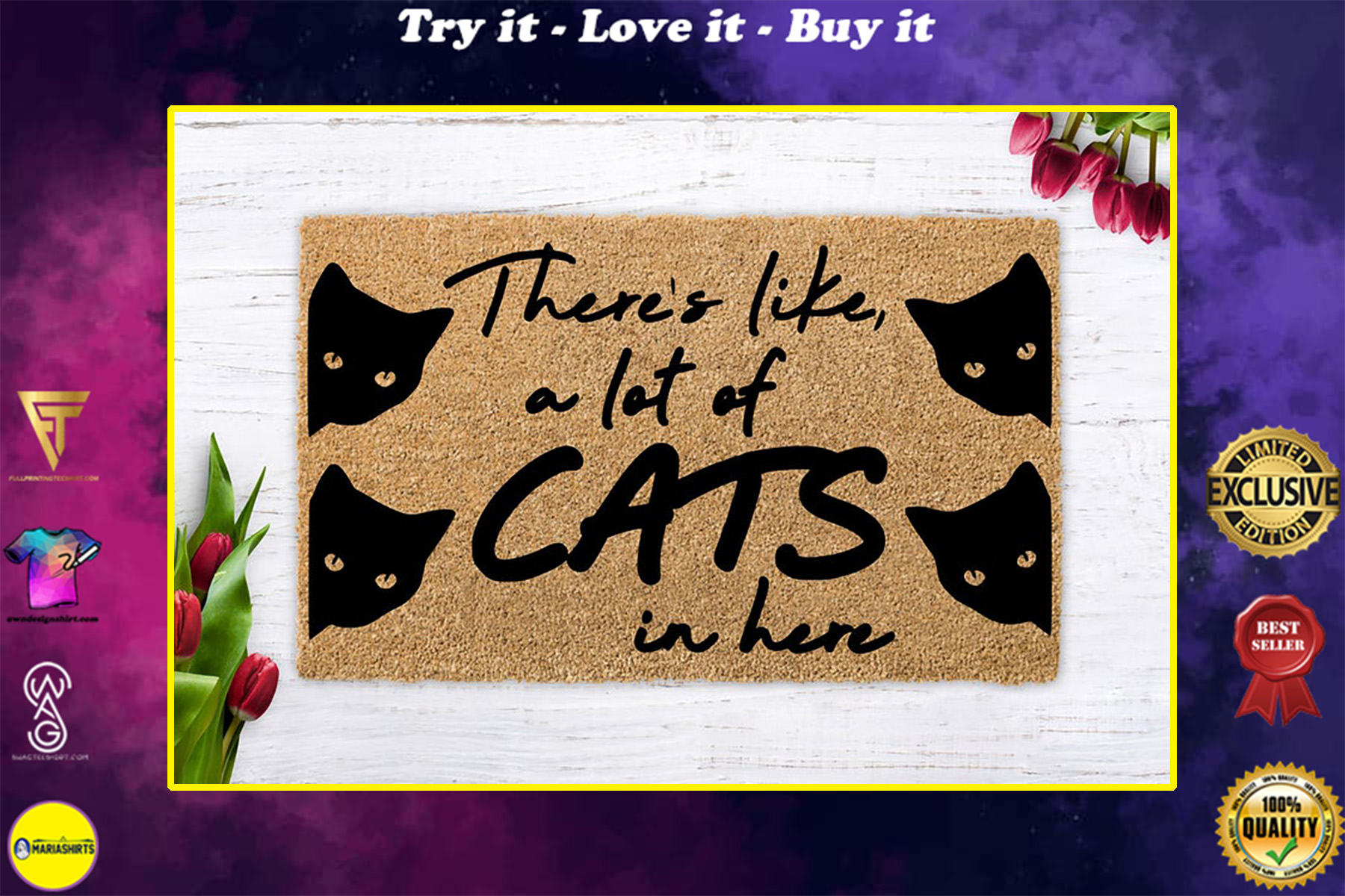 vintage there is like a lot of cats in here all over print doormat