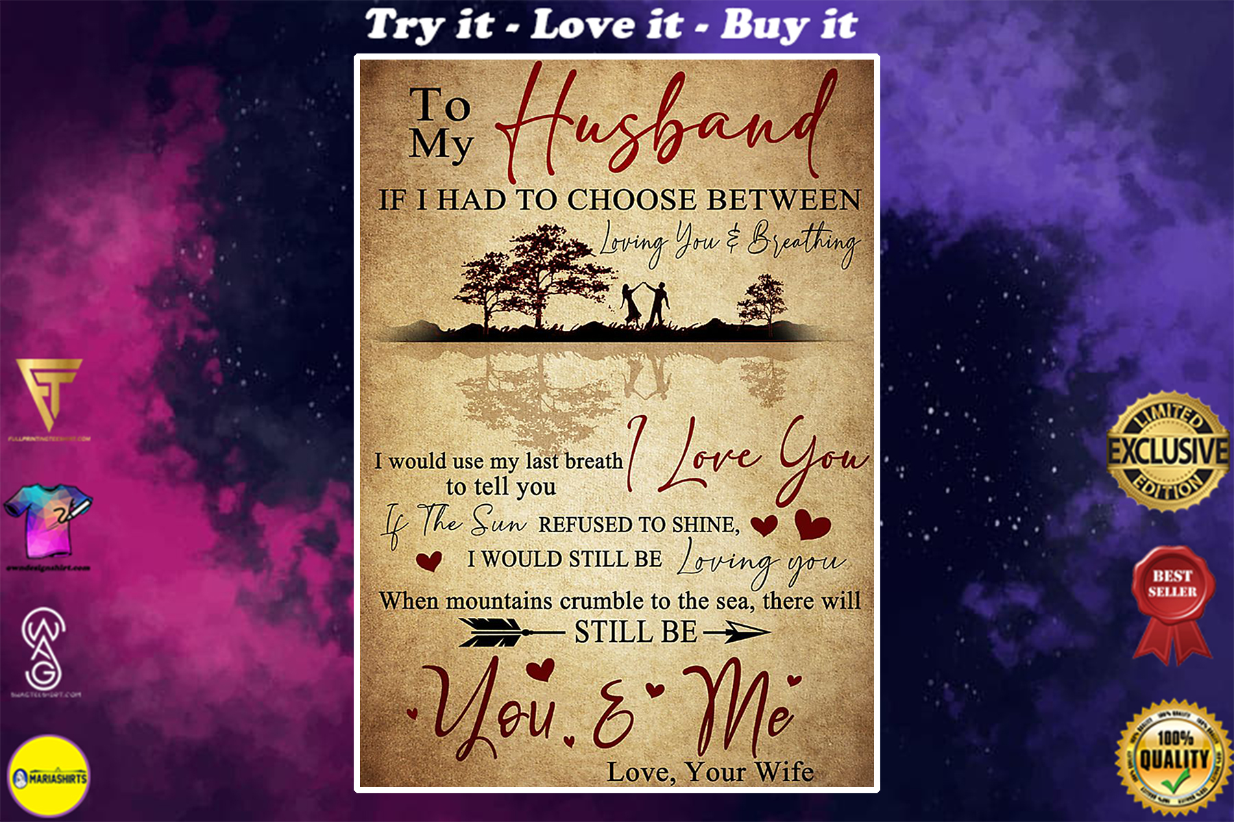 vintage to my husband i love you your wife poster