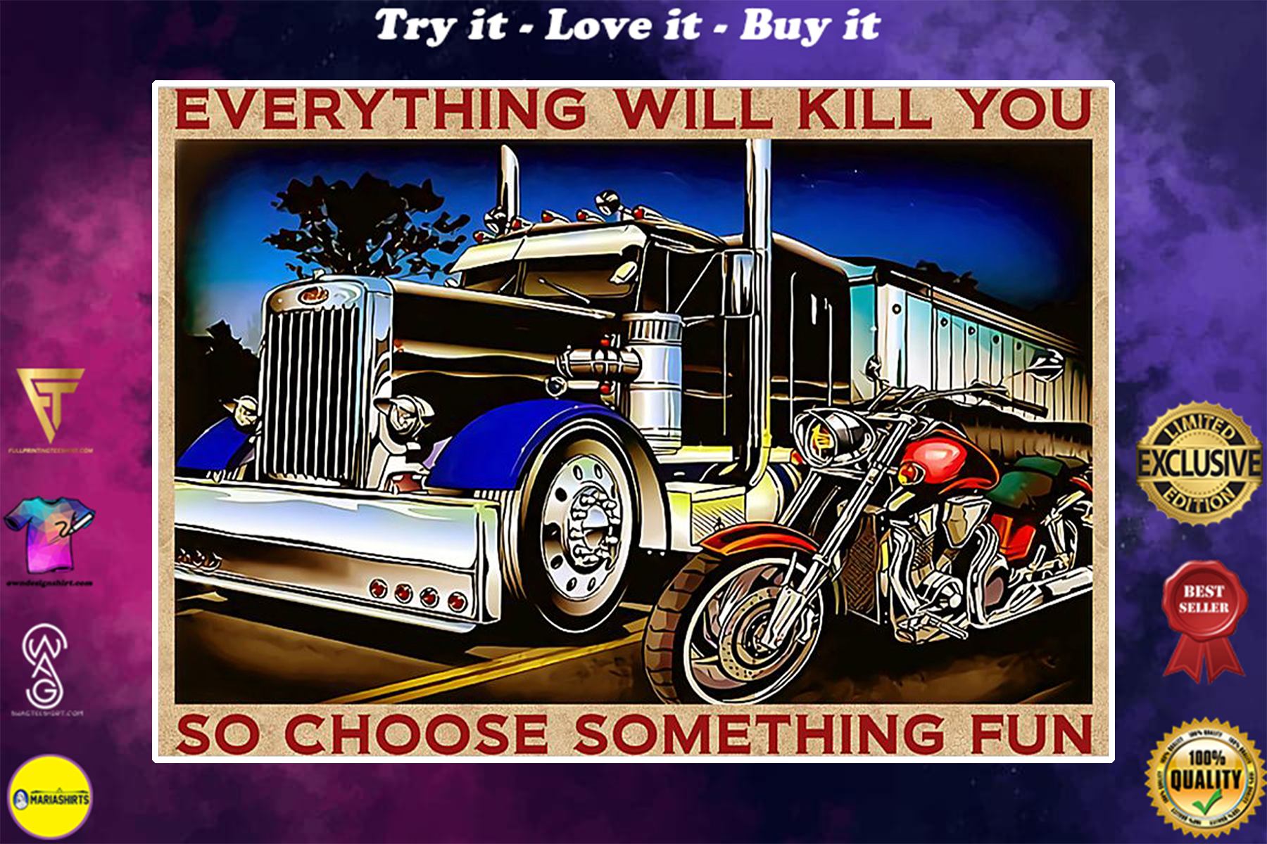 vintage trucker and biker everything will kill you so choose something fun poster