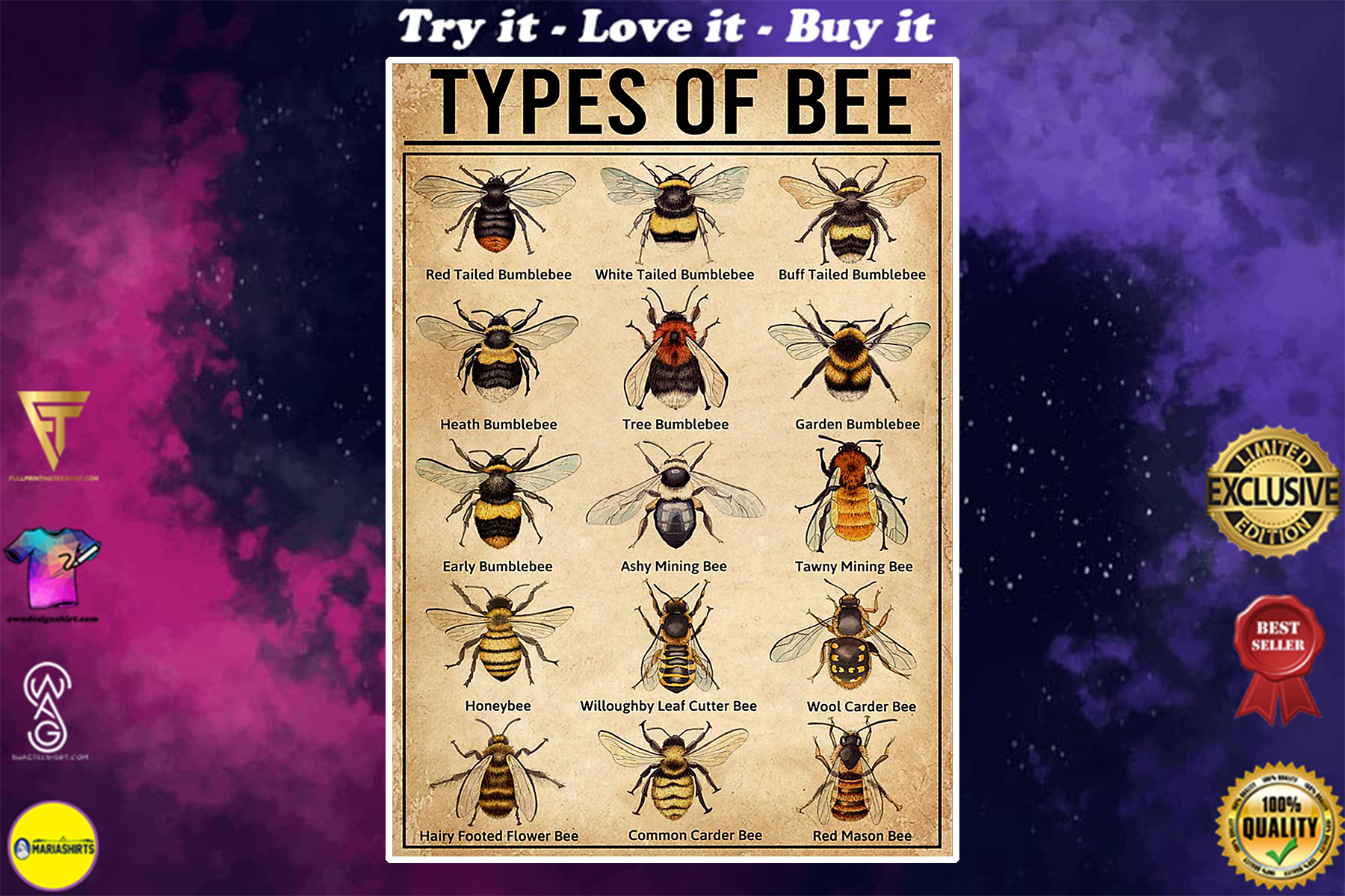 vintage types of bee poster
