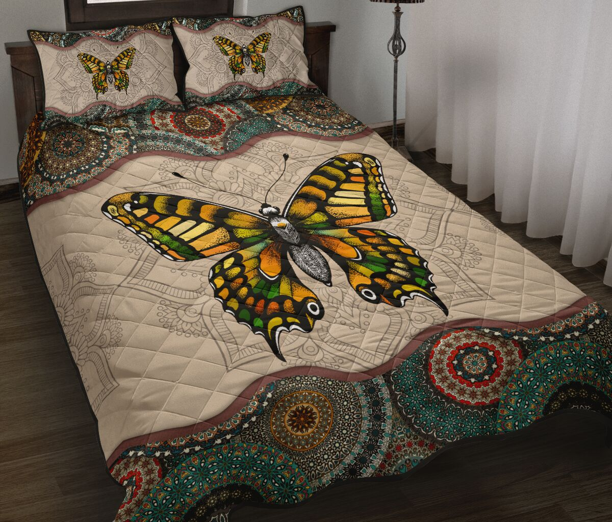 vintage version butterfly full over print quilt 2