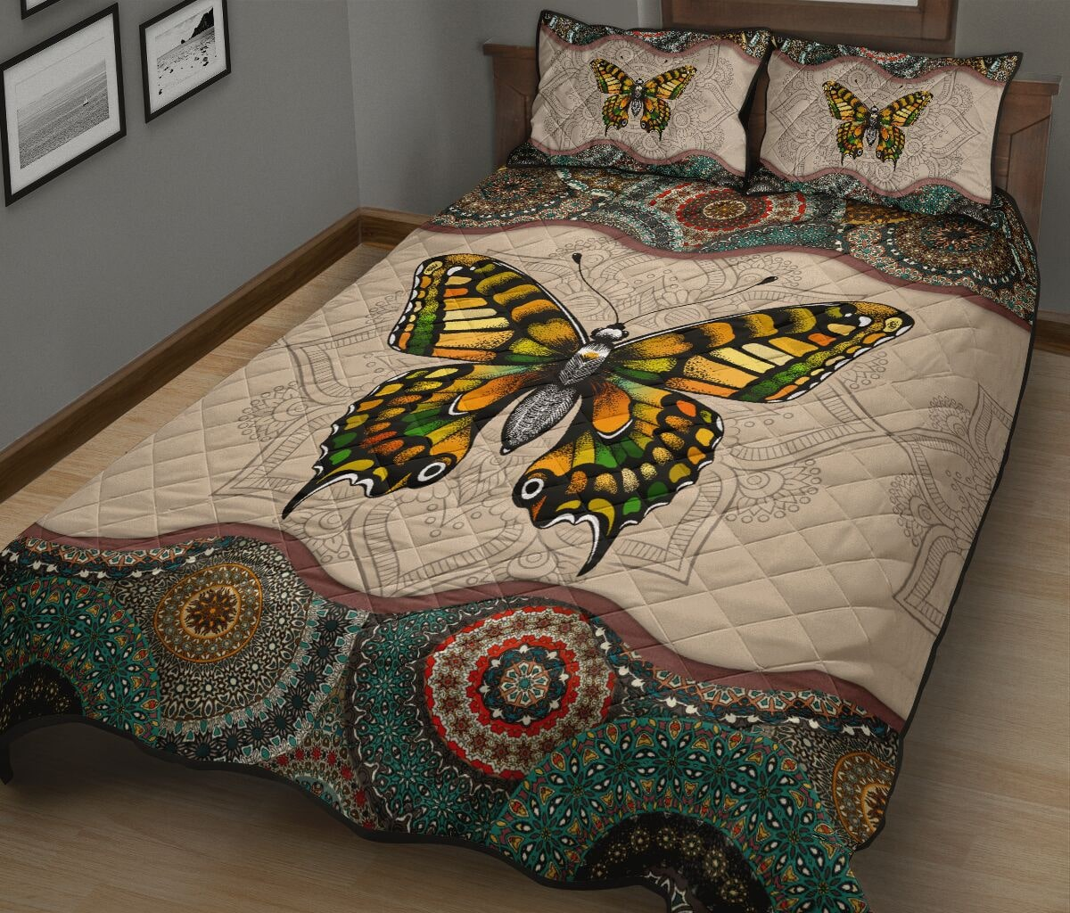vintage version butterfly full over print quilt 3